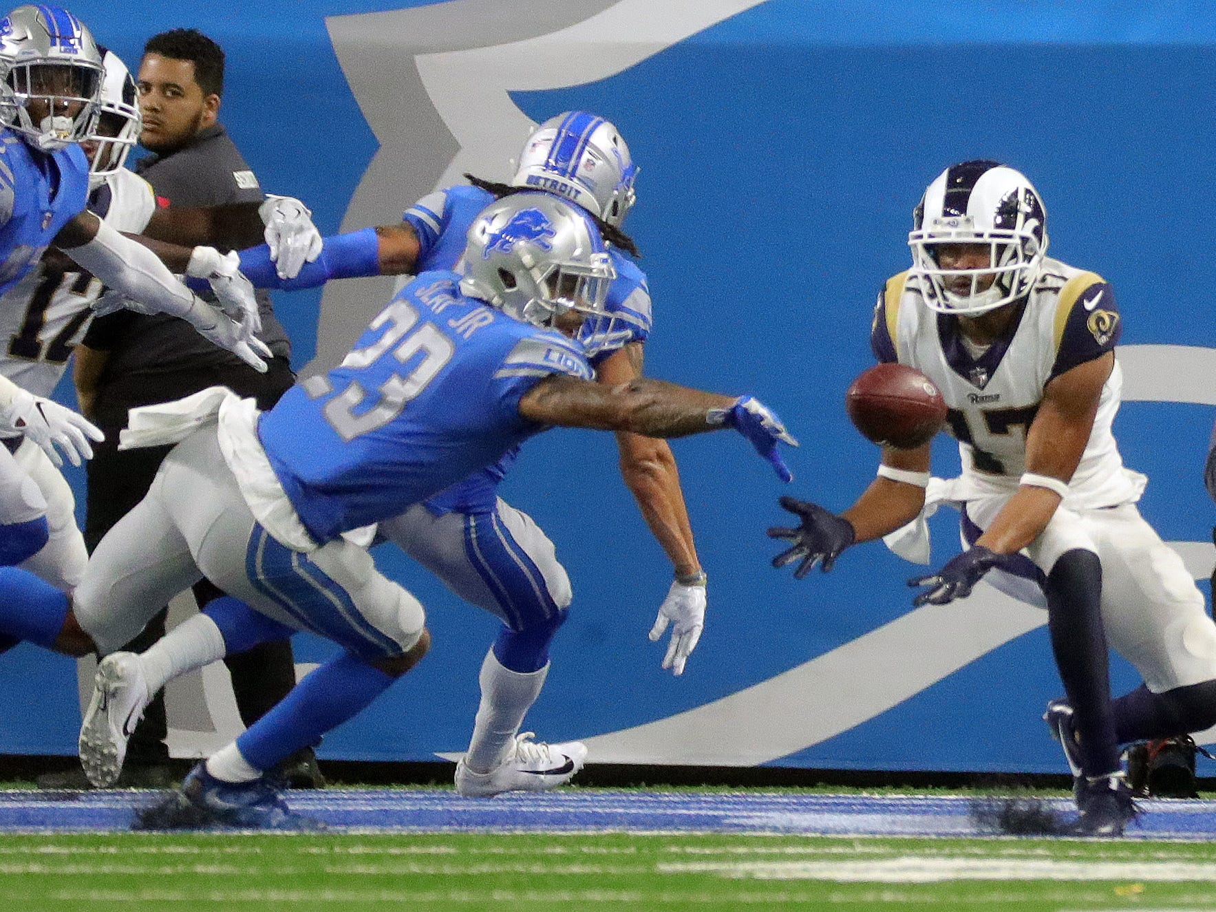 Detroit Lions cornerback Darius Slay gives up the touchdown catch to Los Angeles Rams receiver Robert Woods during the first half Sunday, Dec. 2, 2018 at Ford Field in Detroit.