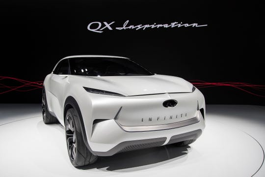 Infiniti QX Inspiration during the 2019 North American International Auto Show held at Cobo Center in downtown Detroit on Monday, Jan. 14, 2019.