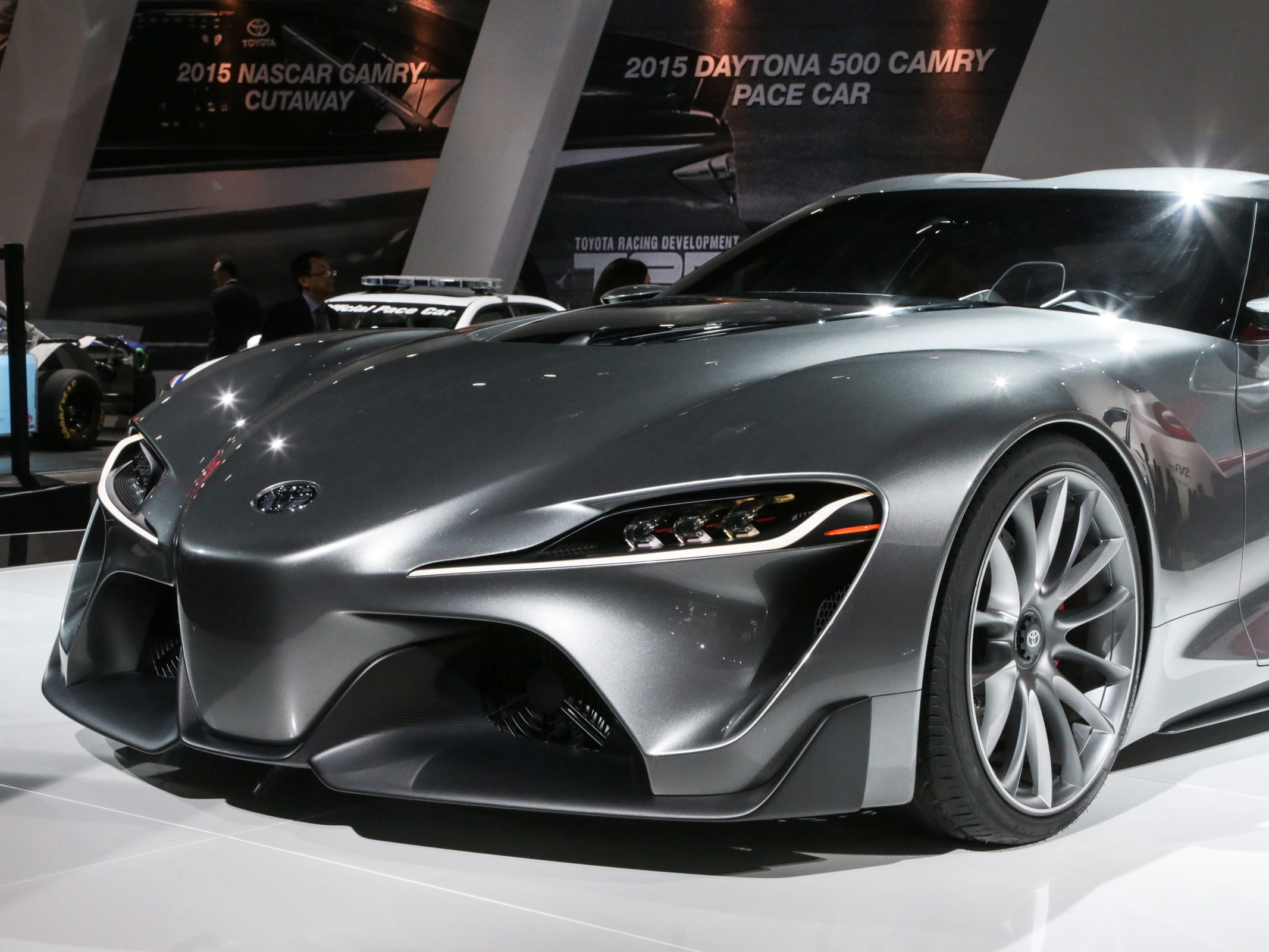 The Toyota FT-1 concept is seen on stage during the 2015 North American International Auto Show at Cobo Center on Monday, Jan.12, 2015 in Detroit.
