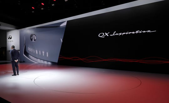 Karim Habib, Executive Design Director, Infiniti Motor Company, stands on stage and announces that the Infiniti  QX Concept vehicle will not be coming out on stage at the moment due to a technical problem at its reveal at the 2019 North American International Auto Show during Media preview days on January 14, 2019 in Detroit, Michigan.
