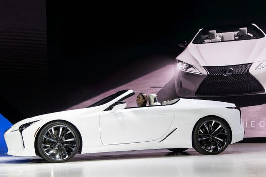 Lexus debuts the LC convertible concept during the 2019 North American International Auto Show held at Cobo Center in downtown Detroit on Monday, Jan. 14, 2019.