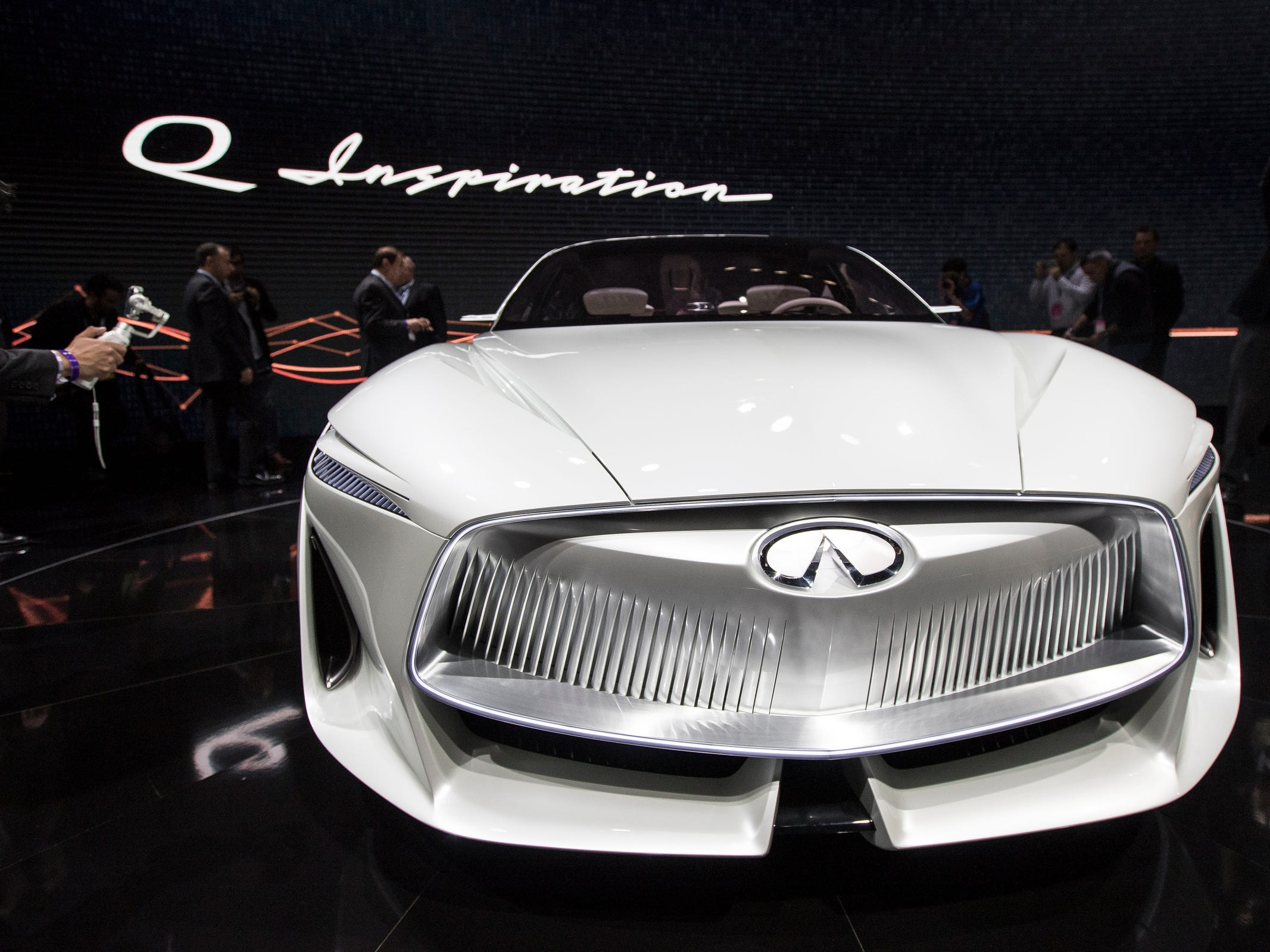 Front grille of the Infiniti Q Inspiration concept during the 2018 North American International Auto Show held at Cobo Center in downtown Detroit on Monday, Jan. 15, 2018.