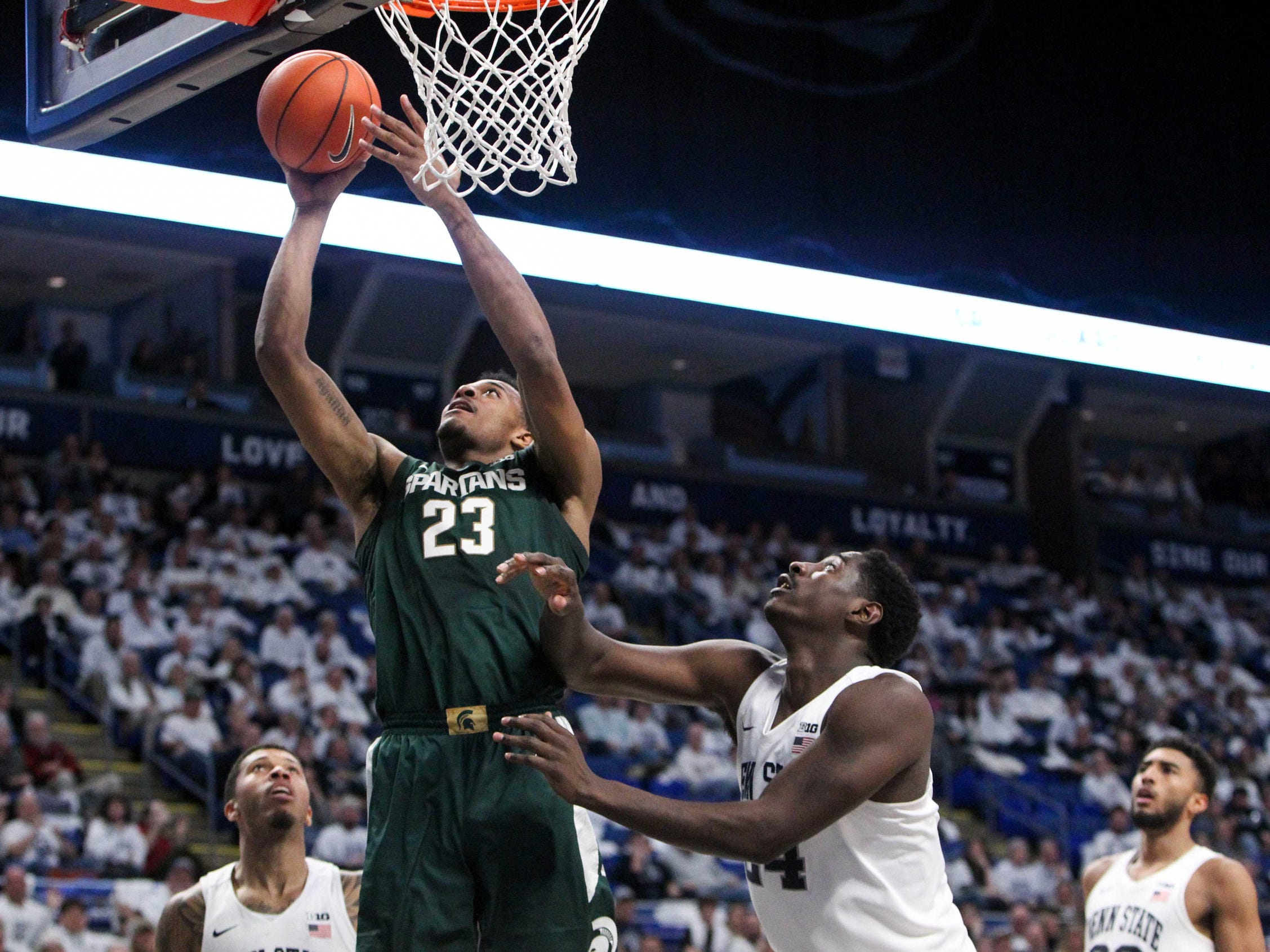 Michigan State forward Xavier Tillman shoots against Penn State during the second half in State College, Pa. Sunday, Jan. 13, 2019.