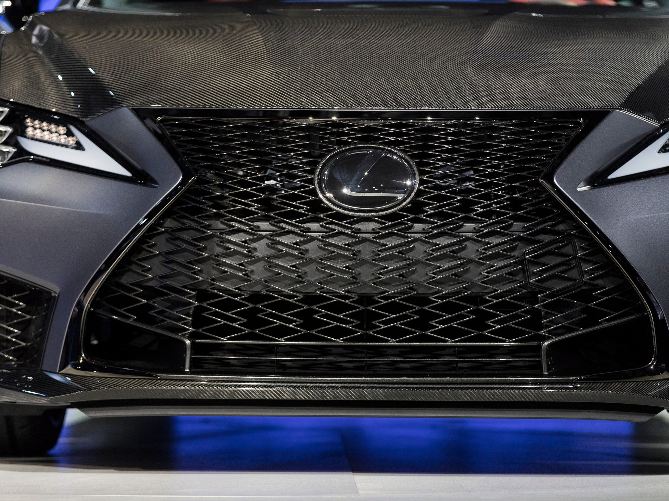 Front grill of the Lexus 2019 RCF Track Edition during the 2019 North American International Auto Show held at Cobo Center in downtown Detroit on Monday, Jan. 14, 2019.