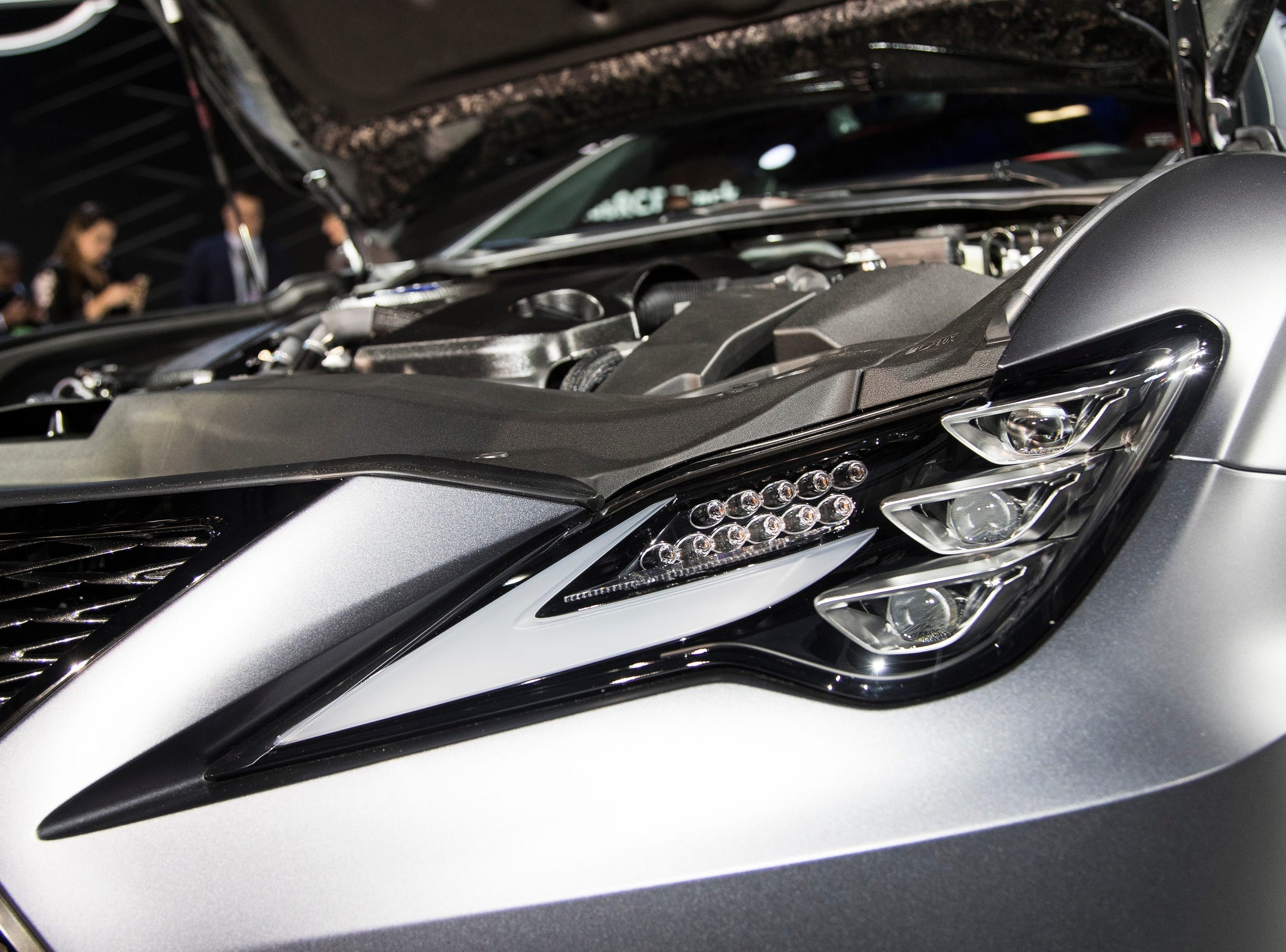 Front headlight of the Lexus RCF Track Edition during the 2019 North American International Auto Show held at Cobo Center in downtown Detroit on Monday, Jan. 14, 2019.