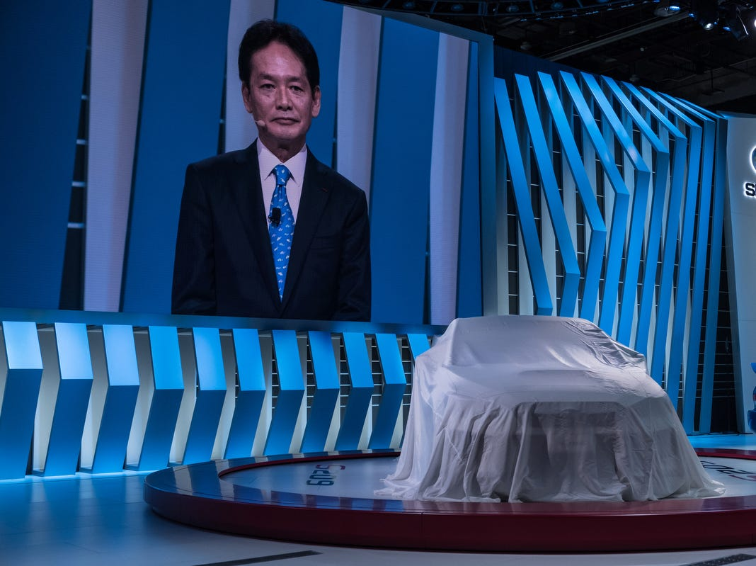 Yoshio Hirakawa, President Subaru Tecnica International, speaks at the Subaru reveal during the 2019 North American International Auto Show held at Cobo Center in downtown Detroit on Monday, Jan. 14, 2019.