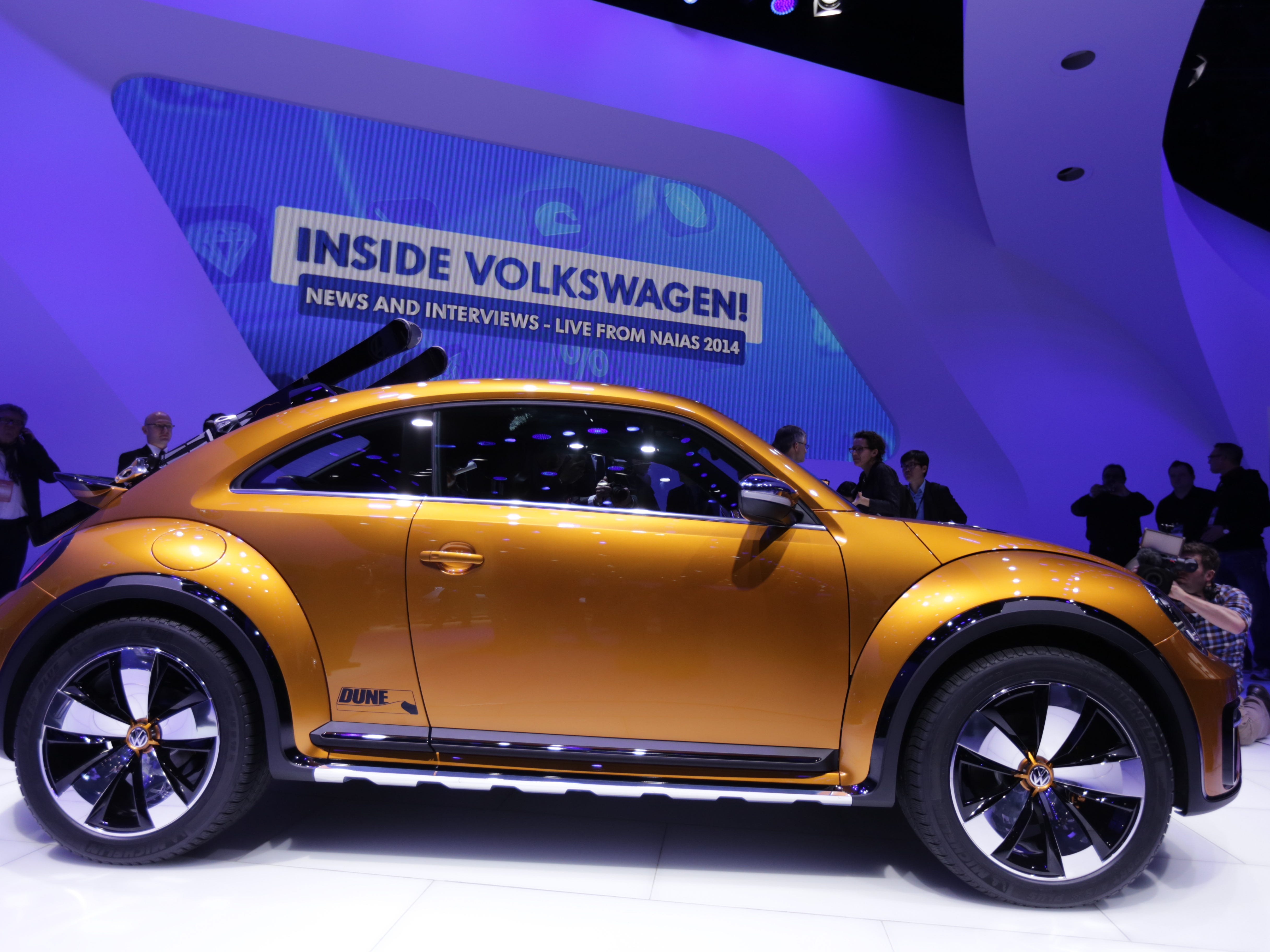 The Volkswagen Beetle Dune concept is unveiled to the media during the 2014 North American International Auto Show held at Cobo Center in downtown Detroit on Monday, Jan. 13, 2014.