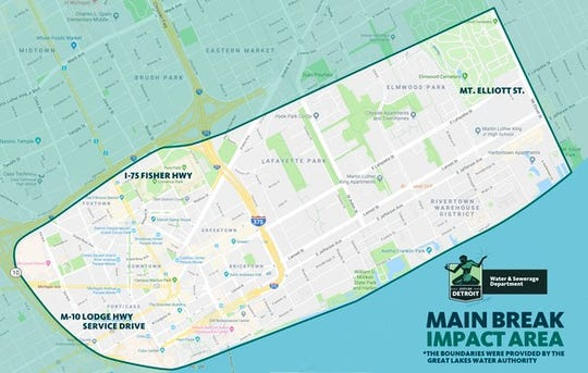 A water main break has forced a boil water advisory for downtown Detroit. Shown here are the affected areas.