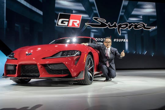 Toyota Motor Co. President and CEO Aiko Toyoda introduces the 2020 GR Supra during the 2019 North American International Auto Show held at Cobo Center in downtown Detroit on Monday, Jan. 14, 2019.