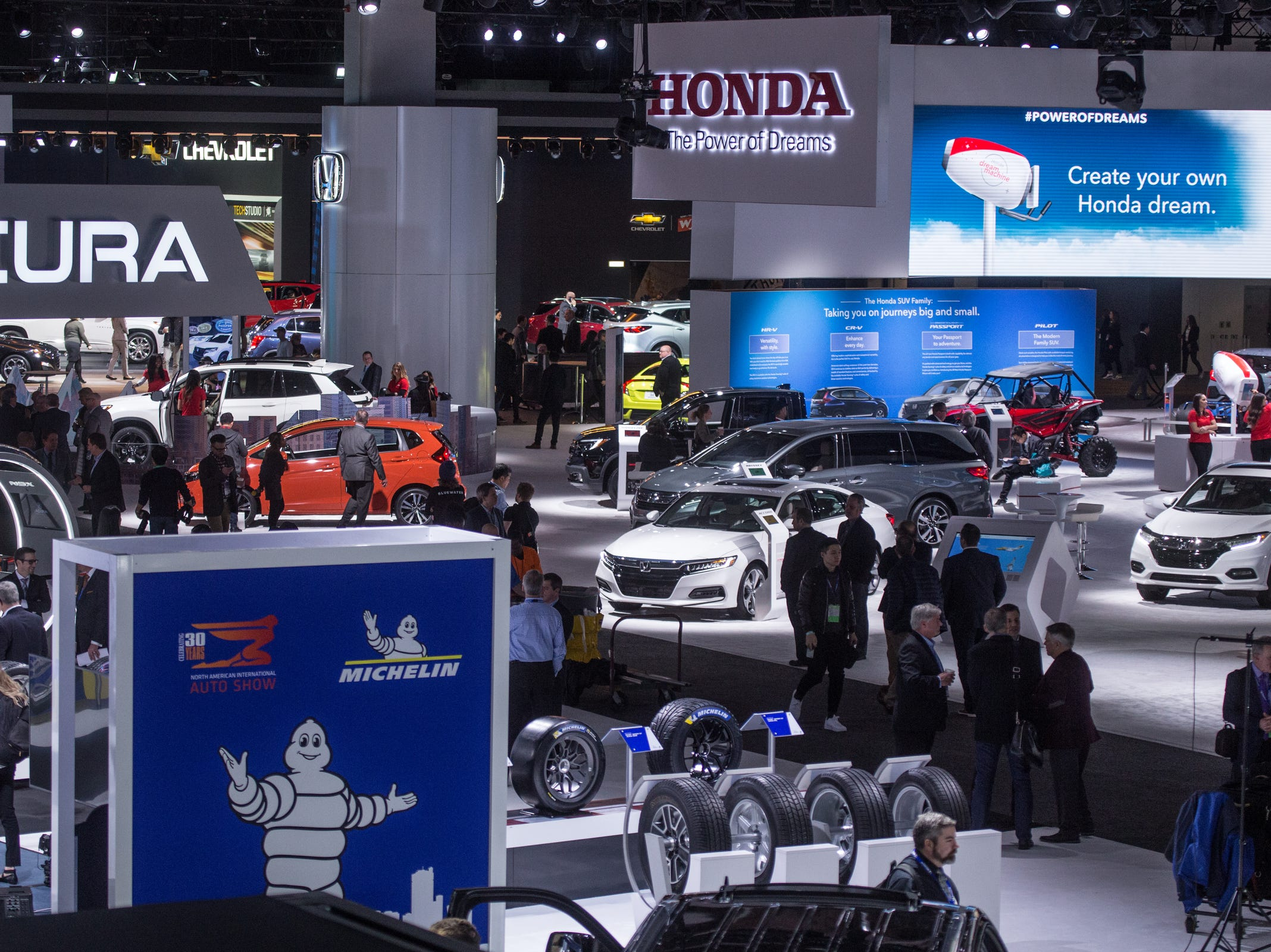 A view of the show floor during the 2019 North American International Auto Show held at Cobo Center in downtown Detroit on Monday, Jan. 14, 2019.