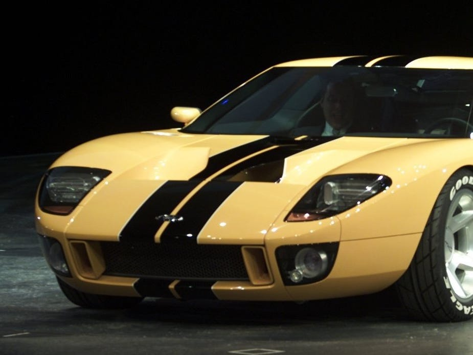 Ford GT40 concept car shown on Sunday night at Cobo Arena in 2002.