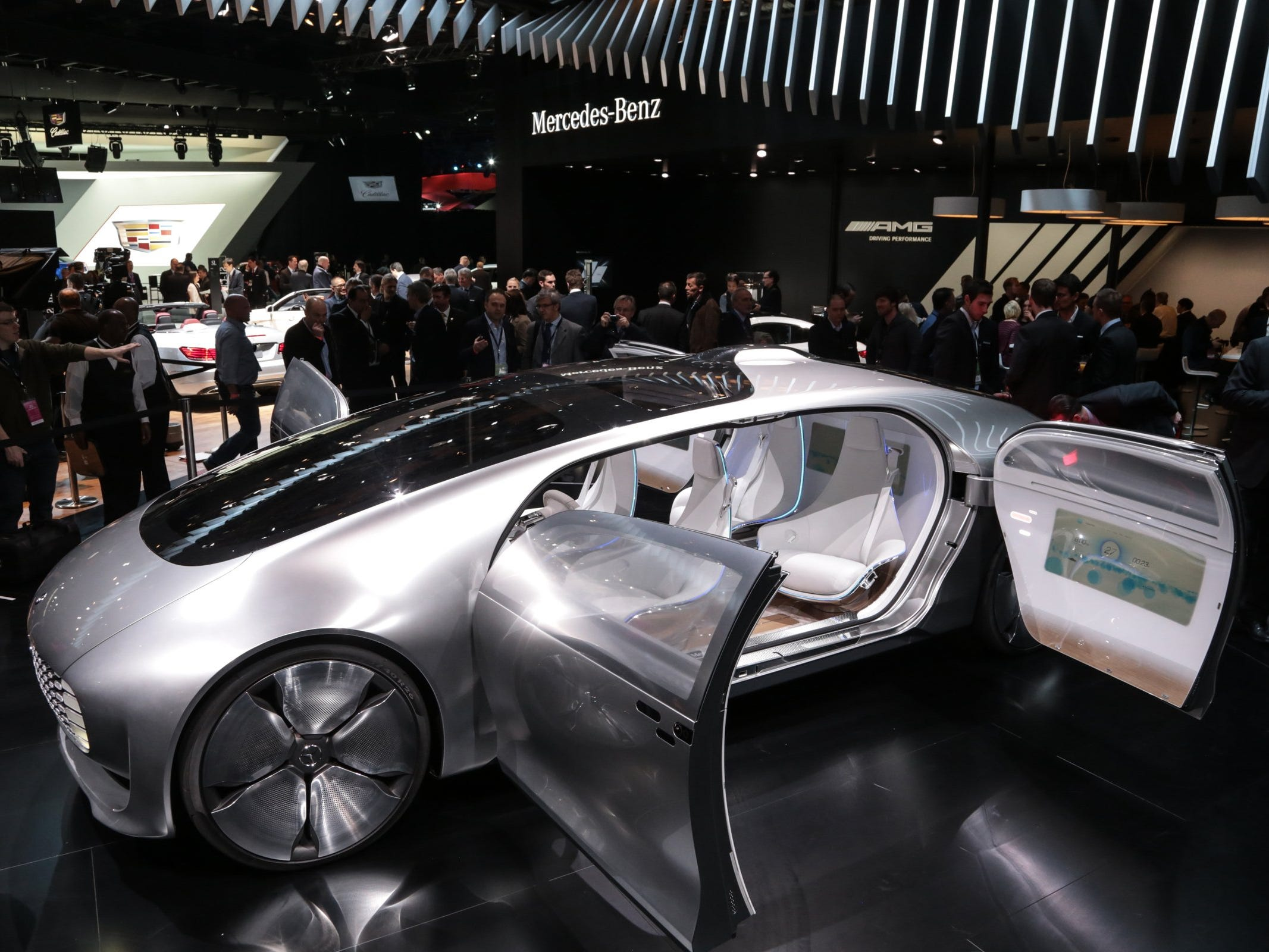 The Mercedes-Benz F 015 concept is introduced to the media during the 2015 North American International Auto Show at Cobo Center on Monday, Jan.12, 2015 in Detroit.