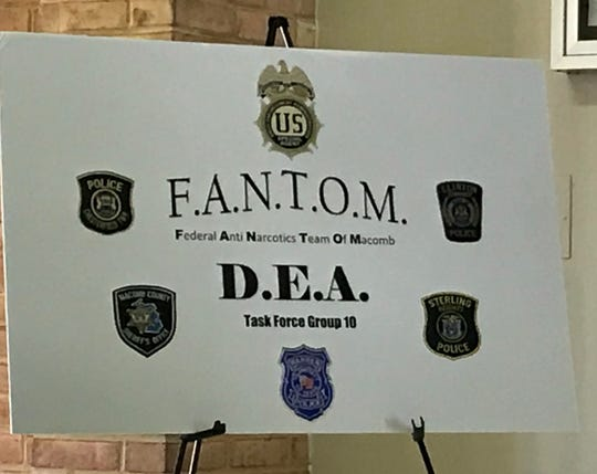 A sign detailing the new Federal Anti Narcotics Team of Macomb members: the Drug Enforcement Administration, the Macomb County Sheriff's Office and police departments from the cities of Warren and Sterling Heights and Clinton and Chesterfield townships.