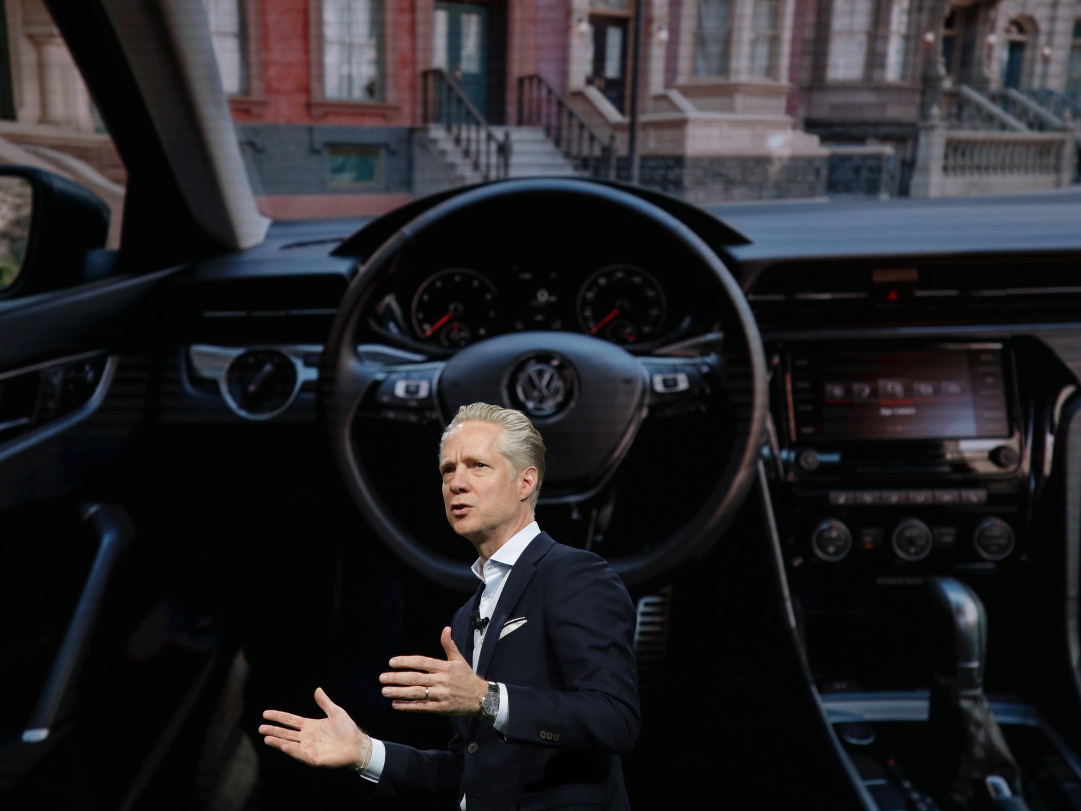 Scott Keogh, ceo and president of Volkswagen Group of America talks about the 2020 Volkswagen Passat revealed at the 2019 North American International Auto Show held at Cobo Center in downtown Detroit on Monday, Jan. 14, 2019.