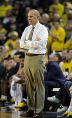 Michigan head coach John Beilein watches the first half against Northwestern, Sunday, Jan. 13, 2019 at the Crisler Center in Ann Arbor.