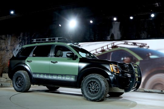 The 2019 Kia Telluride driven on stage and shown off to the automative press during the start of the North American International Auto Show media previews at Cobo Center in Detroit on Monday, January, 14, 2019.
