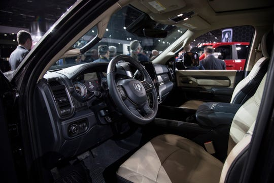 Interior of the Ram 3500 Heavy Duty trunk during the 2019 North American International Auto Show held at Cobo Center in downtown Detroit on Monday, Jan. 14, 2019.