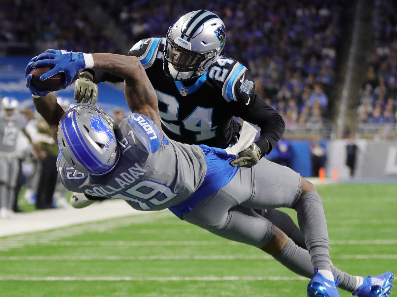 Lions receiver Kenny Golladay makes a touchdown catch against Panthers cornerback James Bradberry in the second half of the Lions' 20-19 win on Sunday, Nov. 18, 2018, at Ford Field.