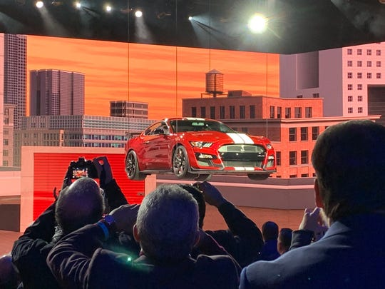 Ford unveils the 2020 GT Shelby 500 on Monday, Jan. 14, 2019, at the 2019 North American International Auto Show in Detroit.