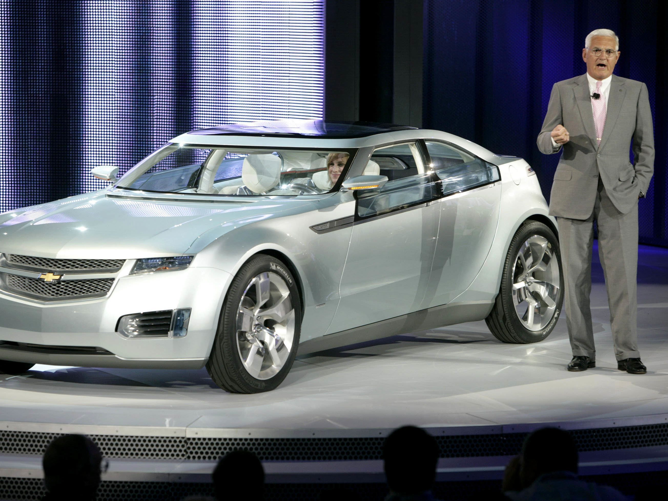 GM Vice Chairman Bob Lutz introduces the Chevrolet Volt electric concept at the North American International Auto Show in January 2007 in Detroit.