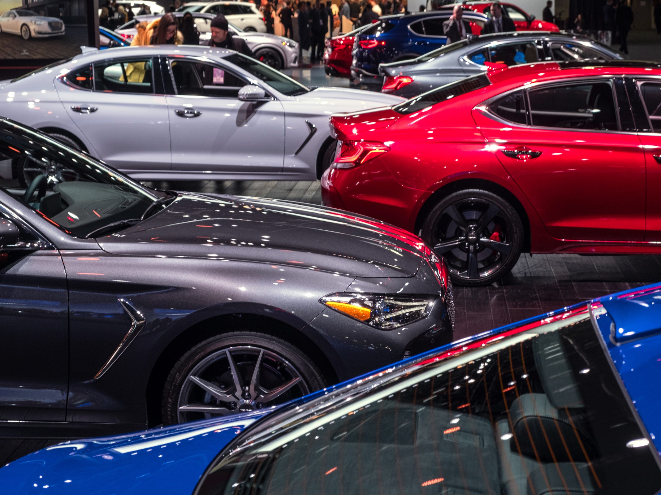 A view of the Genesis section on the show floor is seen during the 2019 North American International Auto Show held at Cobo Center in downtown Detroit on Monday, Jan. 14, 2019.