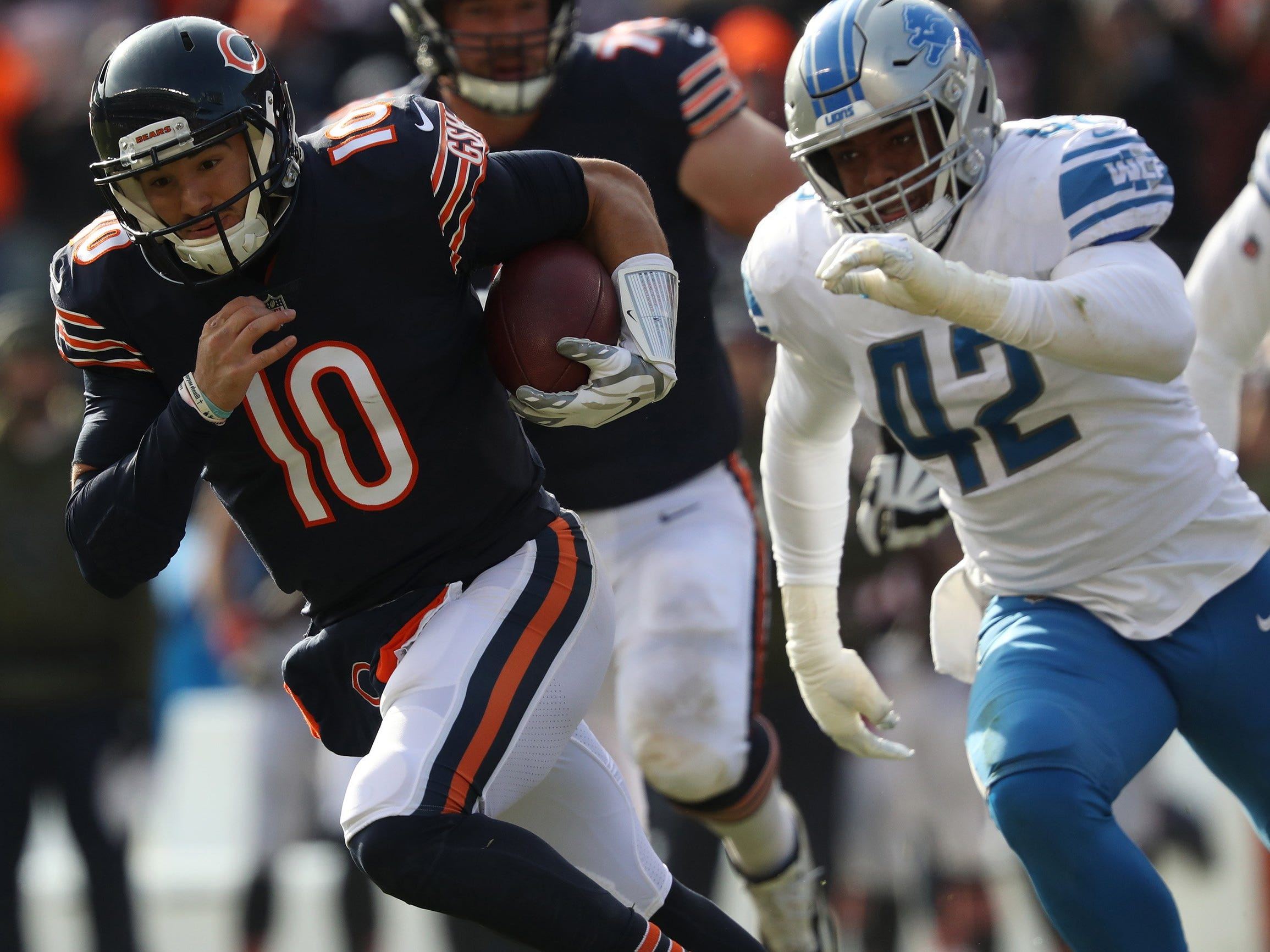 Bears quarterback Mitch Trubisky rushes in the second quarter of the Lions' 34-22 loss on Sunday, Nov. 11, 2018, in Chicago.
