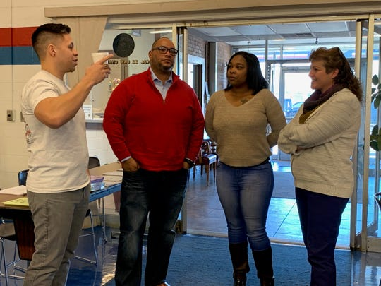 (Left to right) Bill Norona, Robert Patten, Monique Watson and Rhonda Maurer at the UAW Local 22 hall on Monday, Jan. 14, 2019. Norona, Patten and Watson are among the GM Detroit-Hamtramck plant workers affected by the closure. Maurer is the UAW Region 1 International Representative.