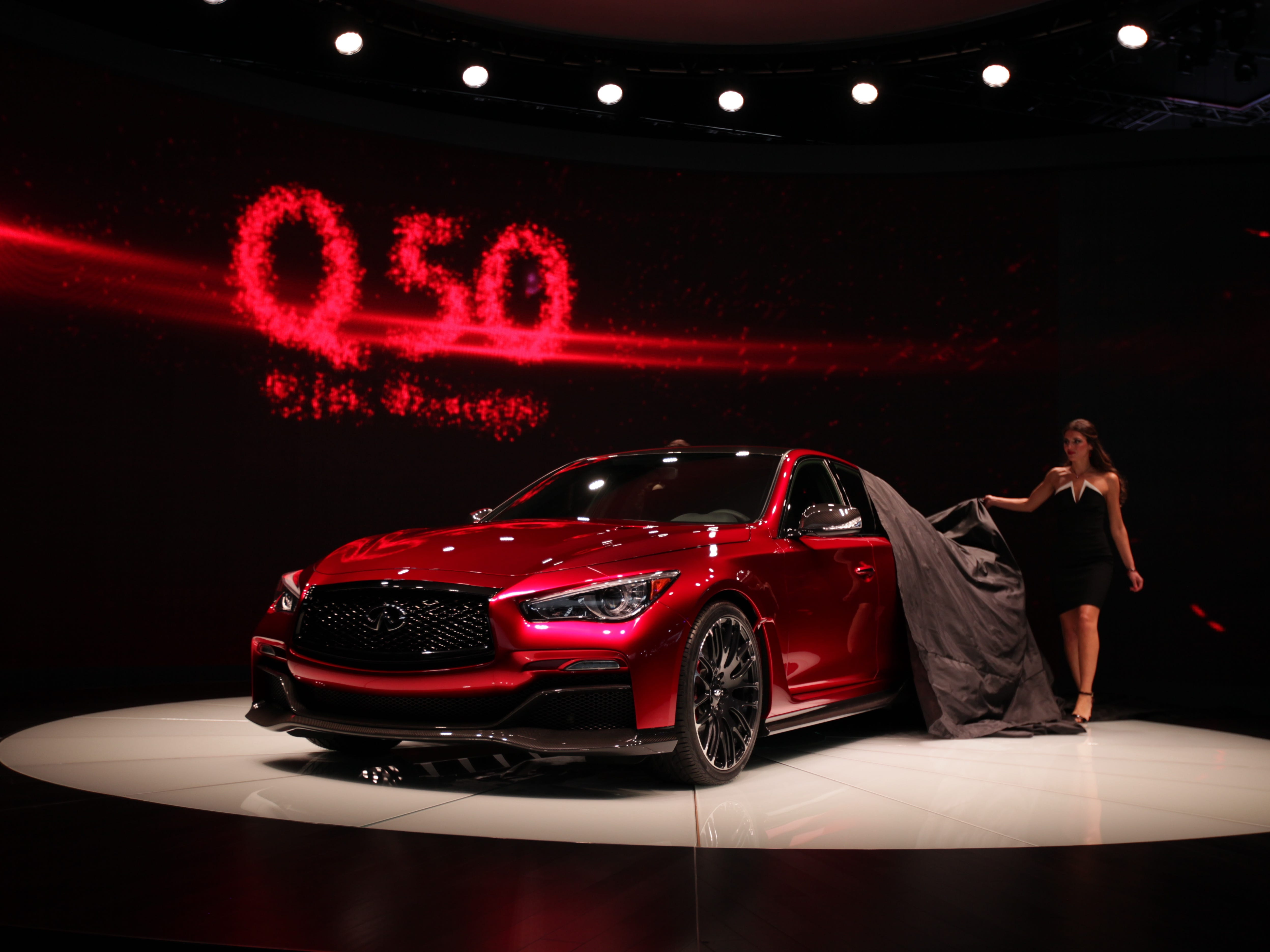 The Infiniti Q50 Eau Rouge concept vehicle was revealed to the media during the 2014 North American International Auto Show held at Cobo Center in downtown Detroit on Tuesday, Jan. 14, 2014.