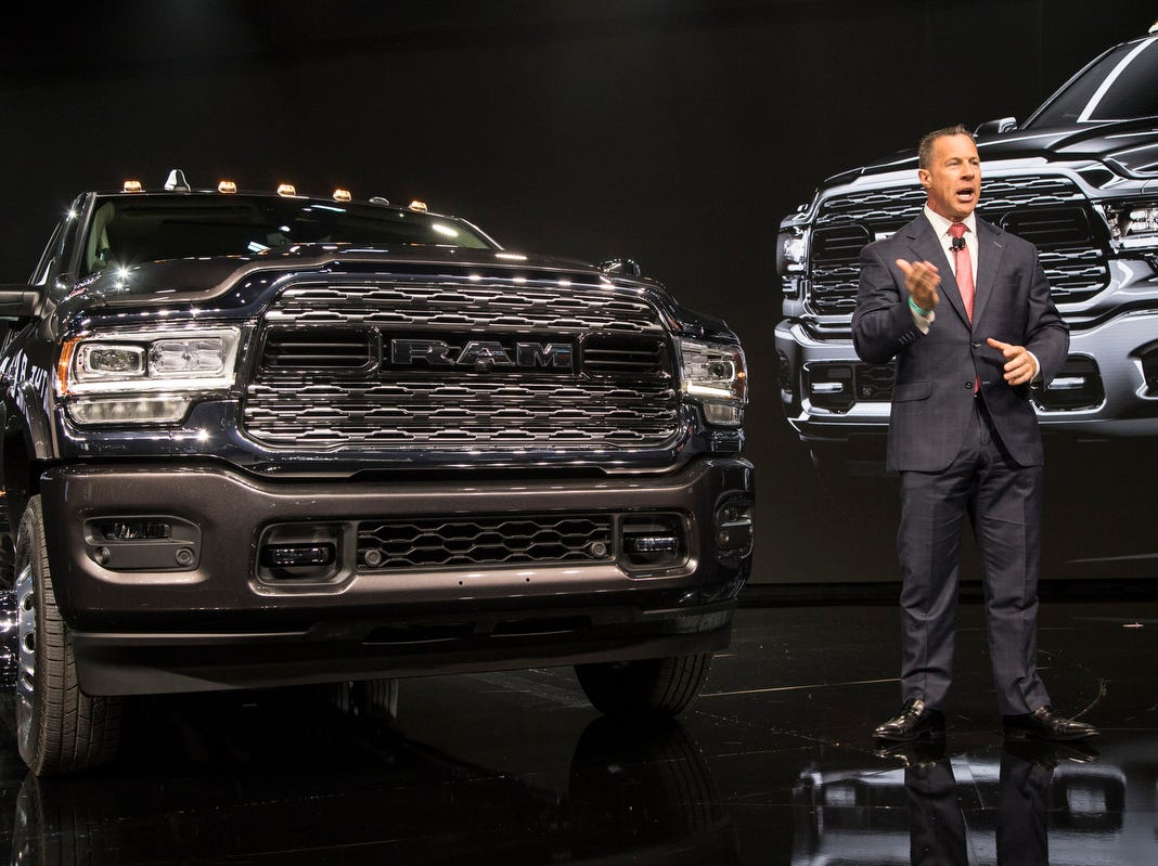 Head of Ram Reid Bigland speaks during the unveiling of the 2019 3500 heavy duty truck during the 2019 North American International Auto Show held at Cobo Center in downtown Detroit on Monday, Jan. 14, 2019.
