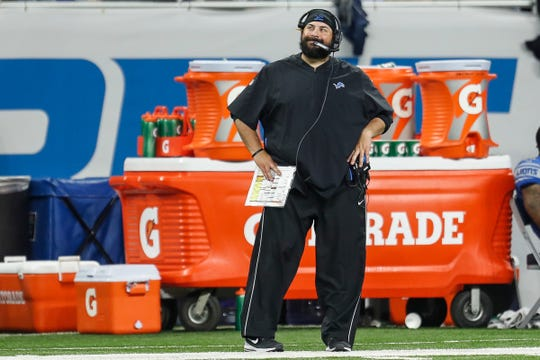 Matt Patricia looks at a replay on the scoreboard during the second half of the Lions' 48-17 loss to the Jets in the season opener Monday, Sept. 10, 2018.