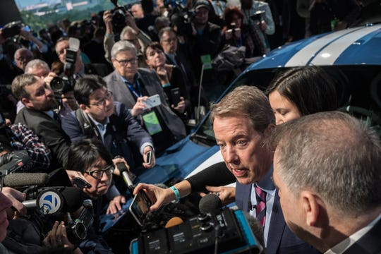 Ford Motor Co. Executive Chairman Bill Ford Jr.  speaks with press surrounding him and the all-new 2020 Mustang Shelby GT 500 during the 2019 North American International Auto Show held at Cobo Center in downtown Detroit on Monday, Jan. 14, 2019.