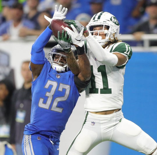 Tavon Wilson gives up a touchdown to Jets receiver Robby Anderson in the 2018 opener.
