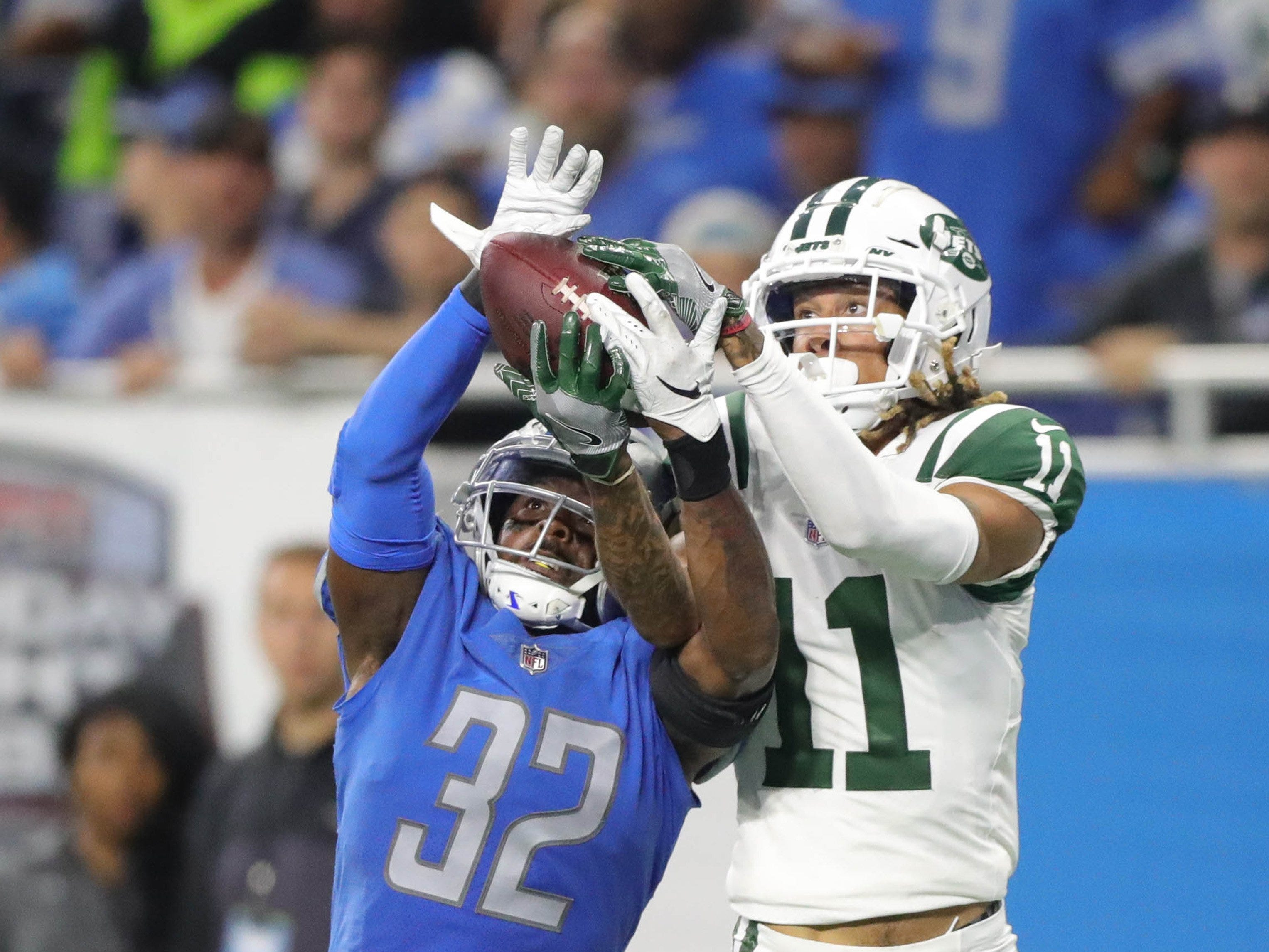 Lions safety Tavon Wilson gives up a touchdown to Jets receiver Robby Anderson during the first half of the Lions' 48-17 loss on Monday, Sept. 10, 2018, at Ford Field.