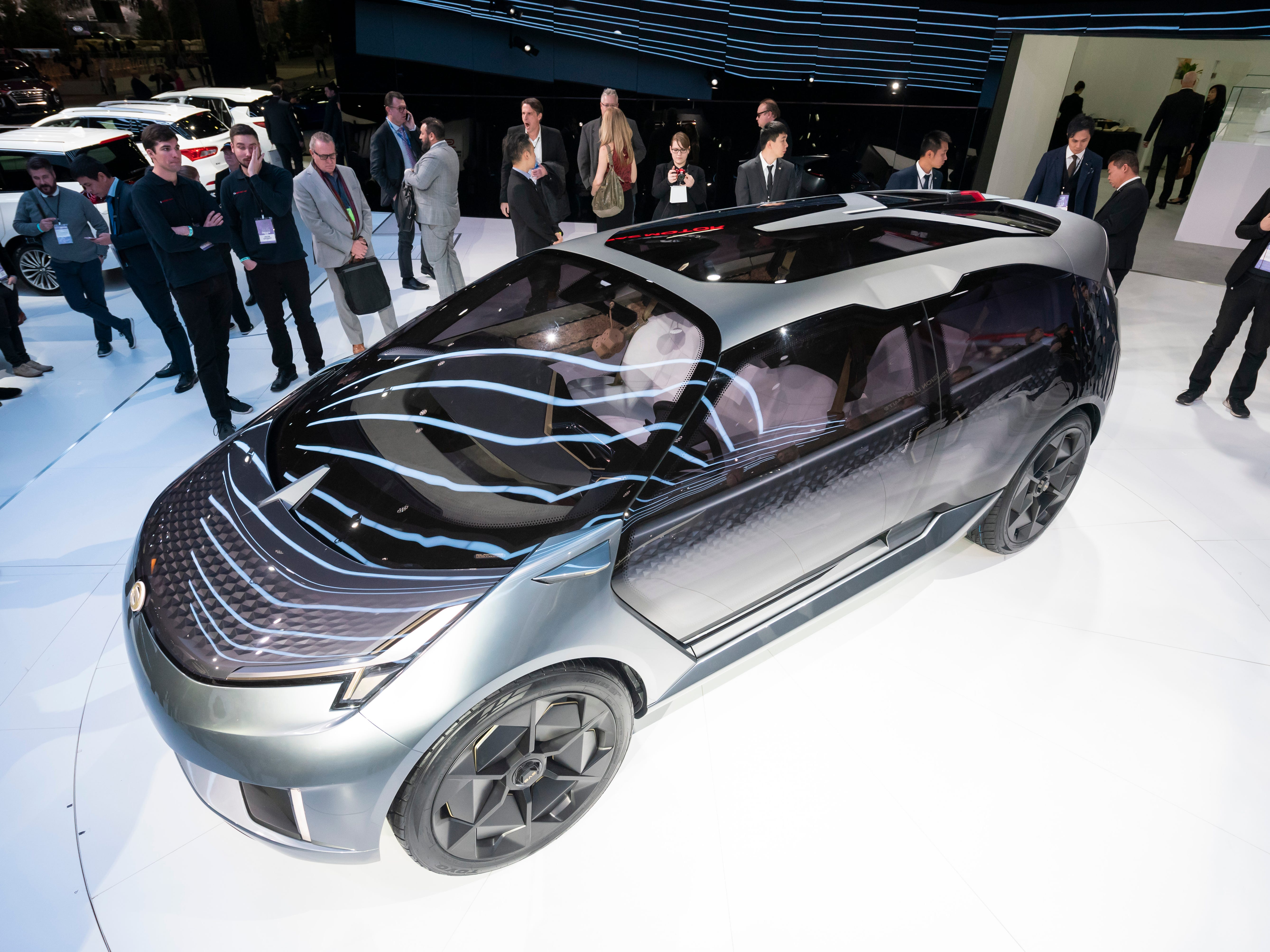The Entranze electric concept vehicle from Chinese automaker GAC is revealed during the North American International Auto Show at Cobo Center in Detroit on Monday, Jan. 14, 2019.