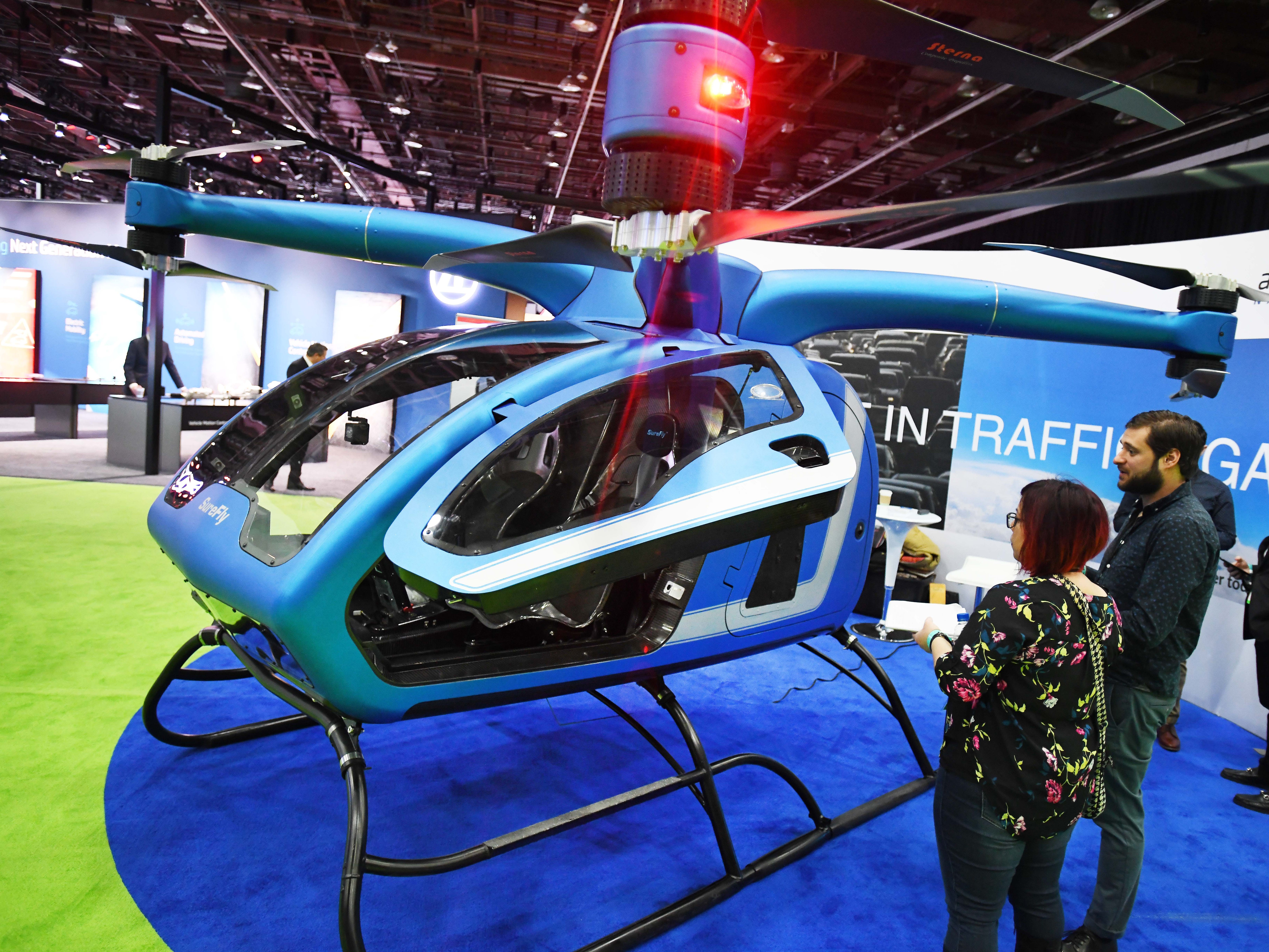 Why drive when you can fly in a SureFly Hybrid Electric Helicopter? A functional proof of concept is on display during media days at the North American International Auto Show.