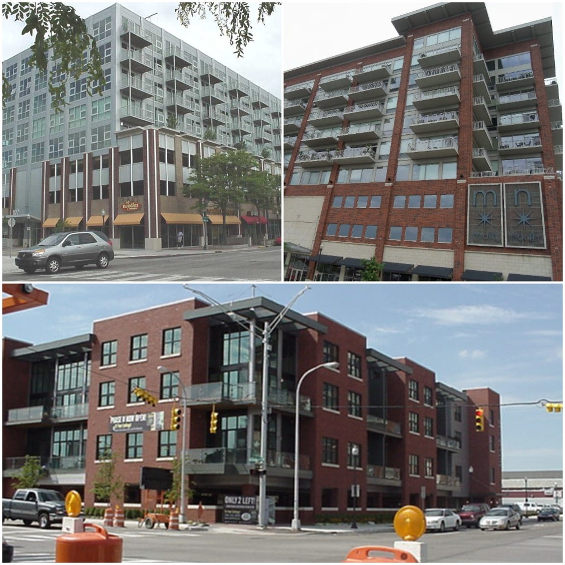 Rajendra Bothra's real-estate empire includes condominiums in downtown Royal Oak. Prosecutors have filed liens on several properties, including (from top left clockwise) units in the SkyLofts building, Main North and Center Street Lofts project.