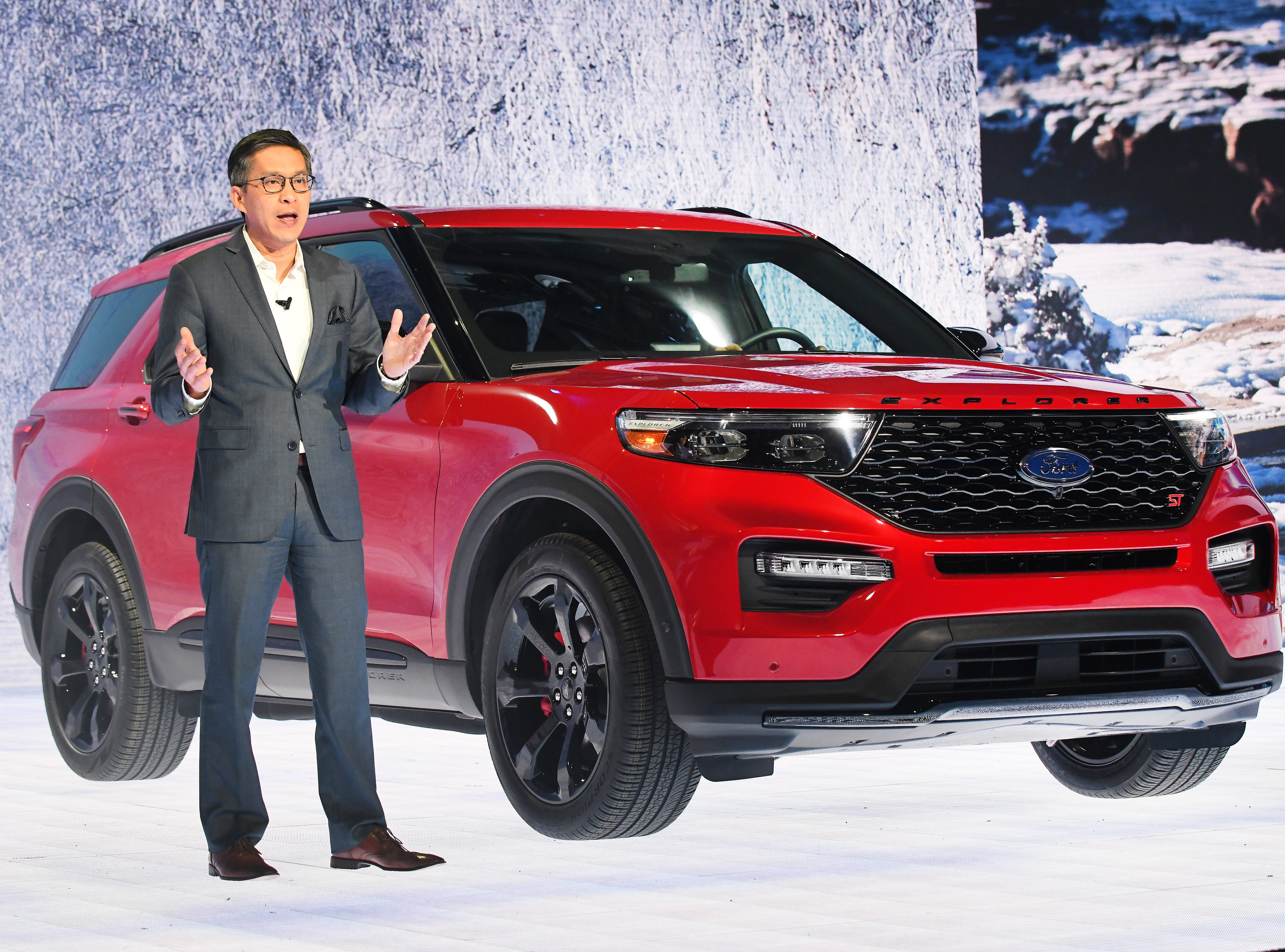 Hau Thai-Tang, Ford executive vice president, product development and purchasing, introduces the Ford Explorer ST.