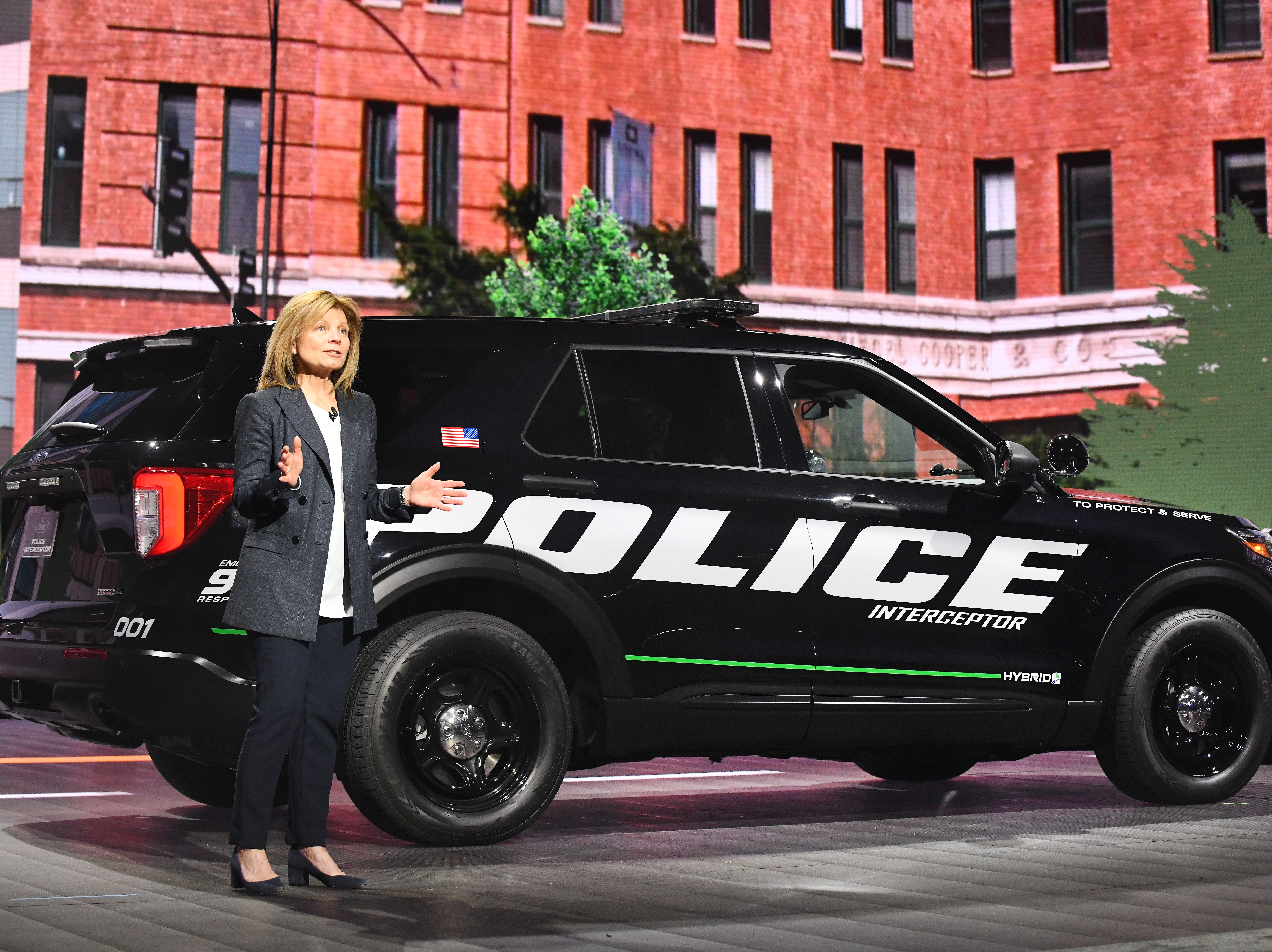 Ford Mobility President Marcy Klevorn talks of the new 2020 Ford Explorer Police Interceptor Utility hybrid at the Detroit auto show.