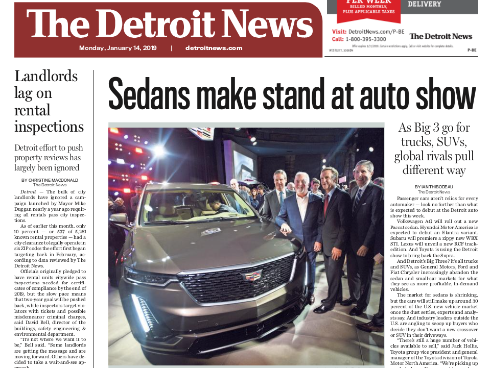 The front page of the Detroit News on Monday, January 14, 2019