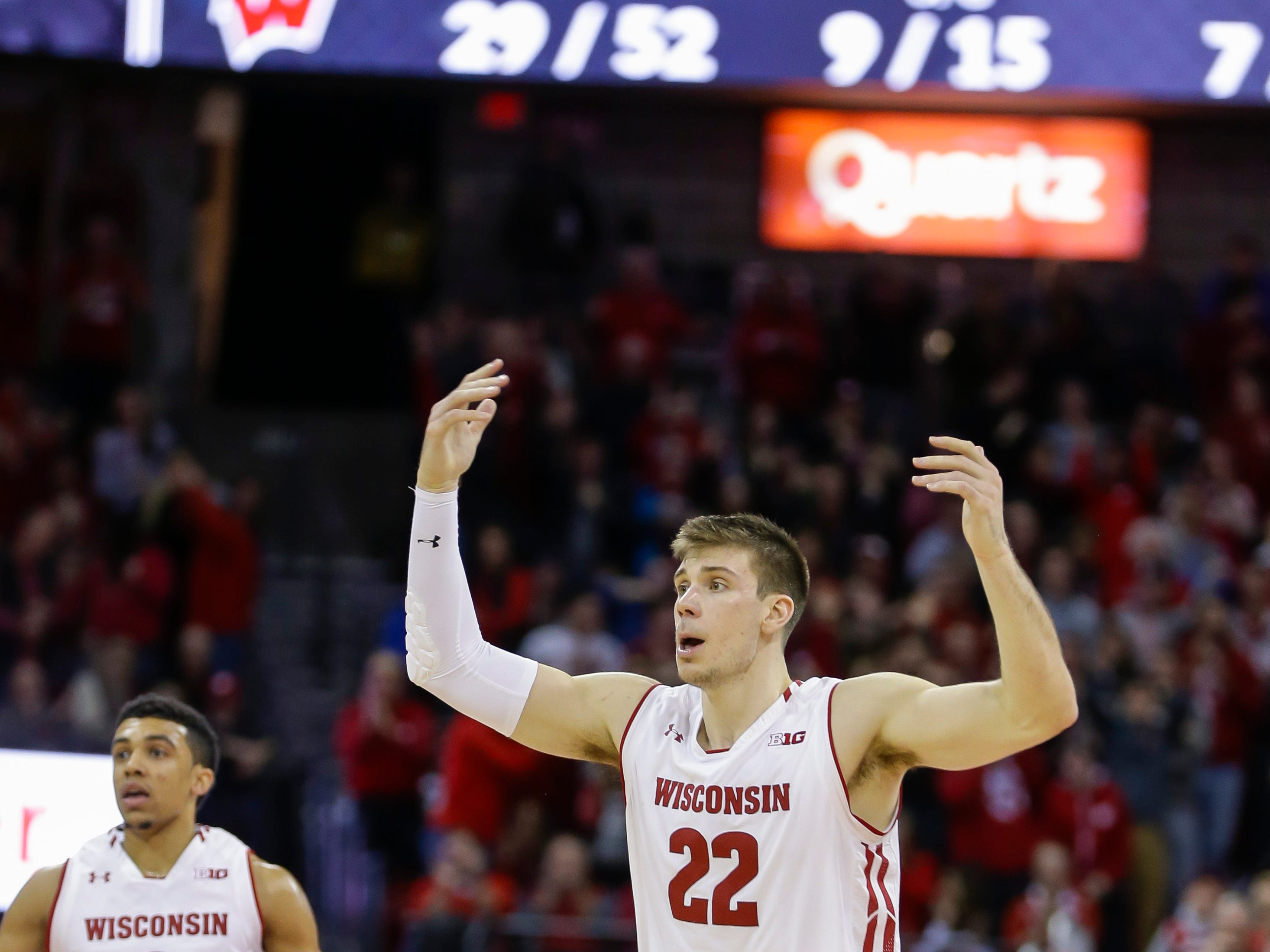 Wisconsin's Ethan Happ (22) during the second half of an NCAA college basketball game against Purdue Friday, Jan. 11, 2019, in Madison, Wis. Purdue won 84-80 in overtime. (AP Photo/Andy Manis)