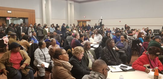 People crowded the hall at the first Detroit charter commission meeting Jan. 10, 2019