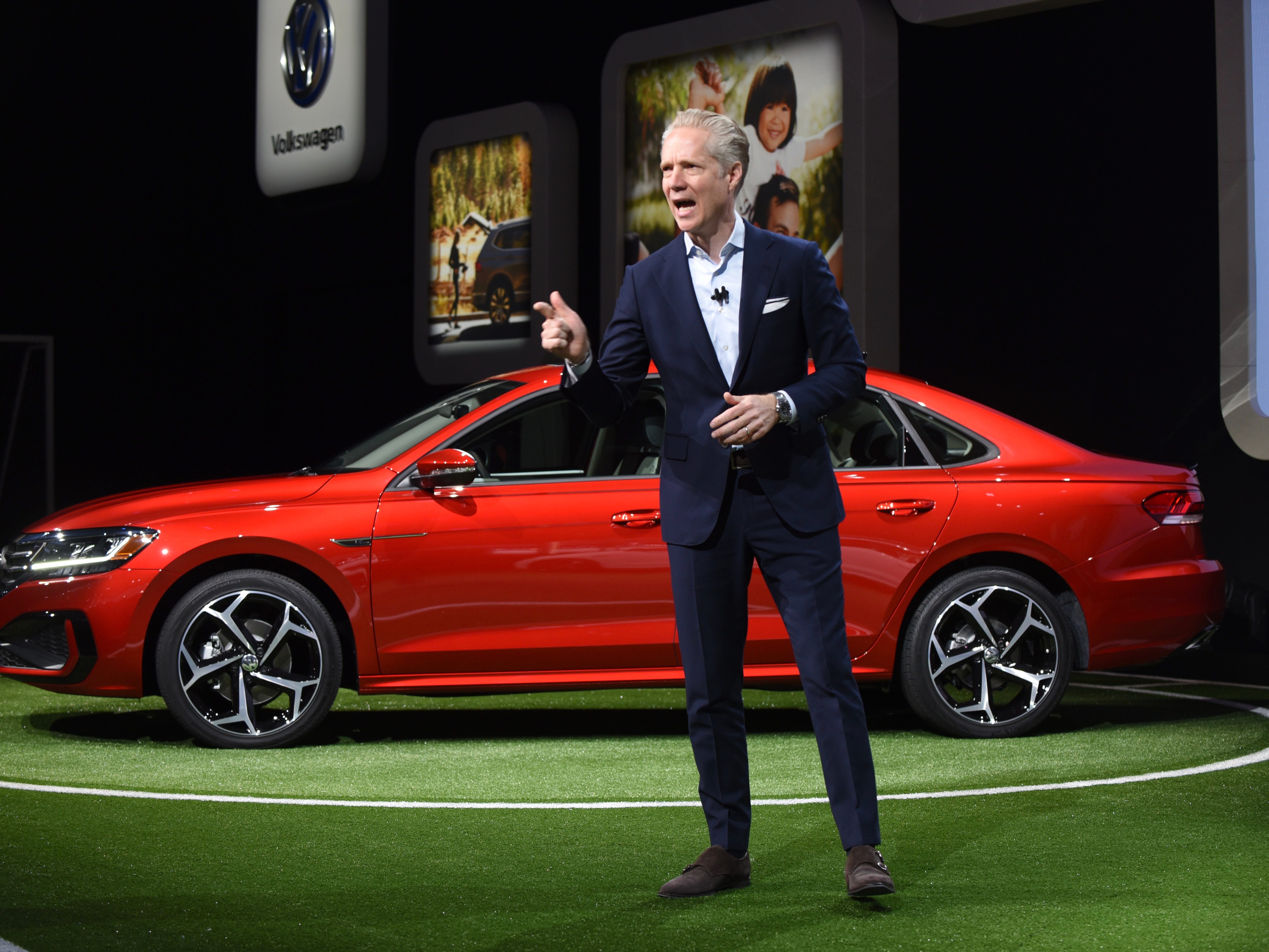 Scott Keogh, CEO and president, Volkswagen Group of America, unveils the new VW Passat at Cobo Center on Monday, Jan. 14, 2019.