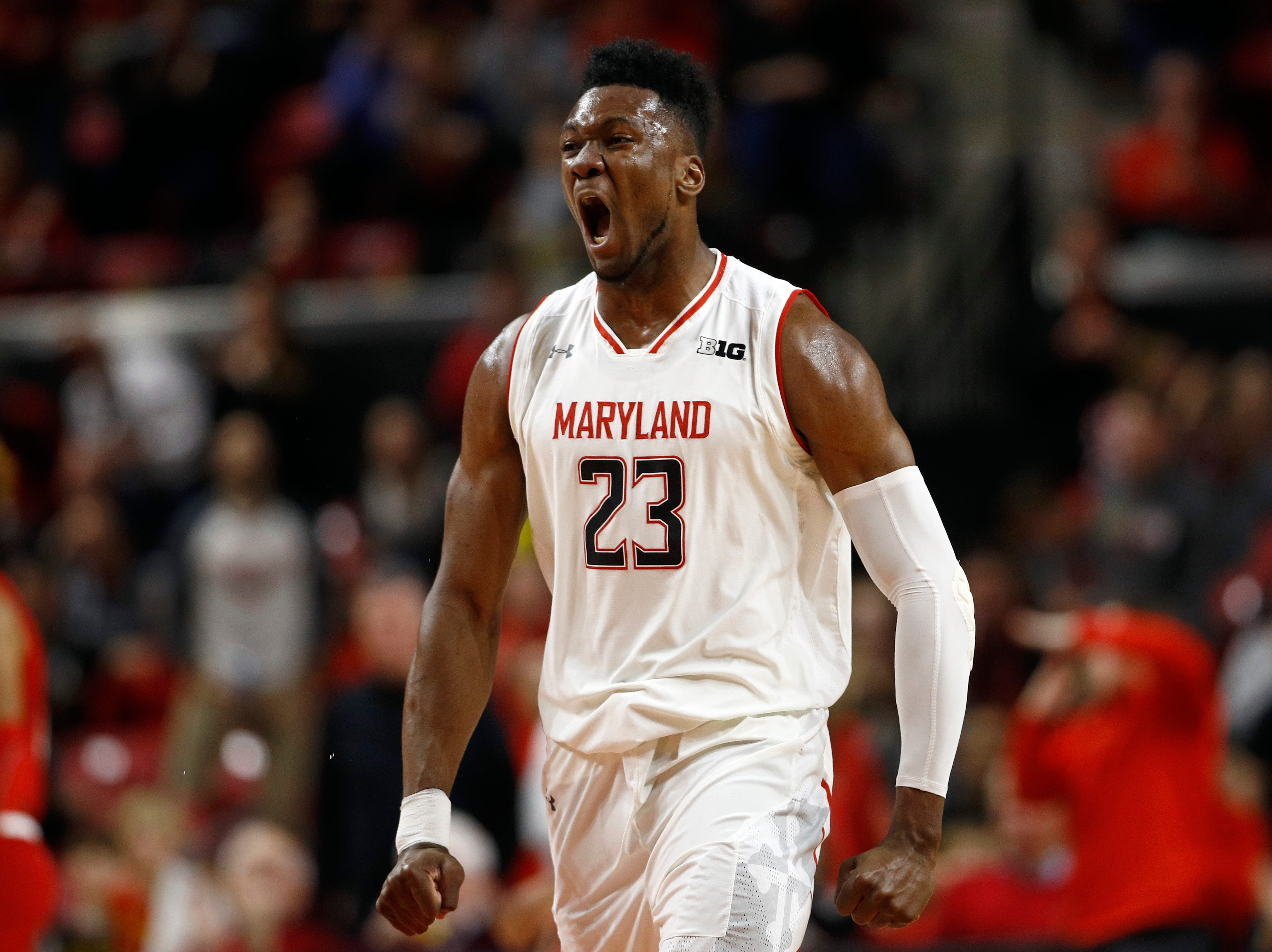 Maryland forward Bruno Fernando, of Angola, reacts in the first half of an NCAA college basketball game against Indiana, Friday, Jan. 11, 2019, in College Park, Md. (AP Photo/Patrick Semansky)