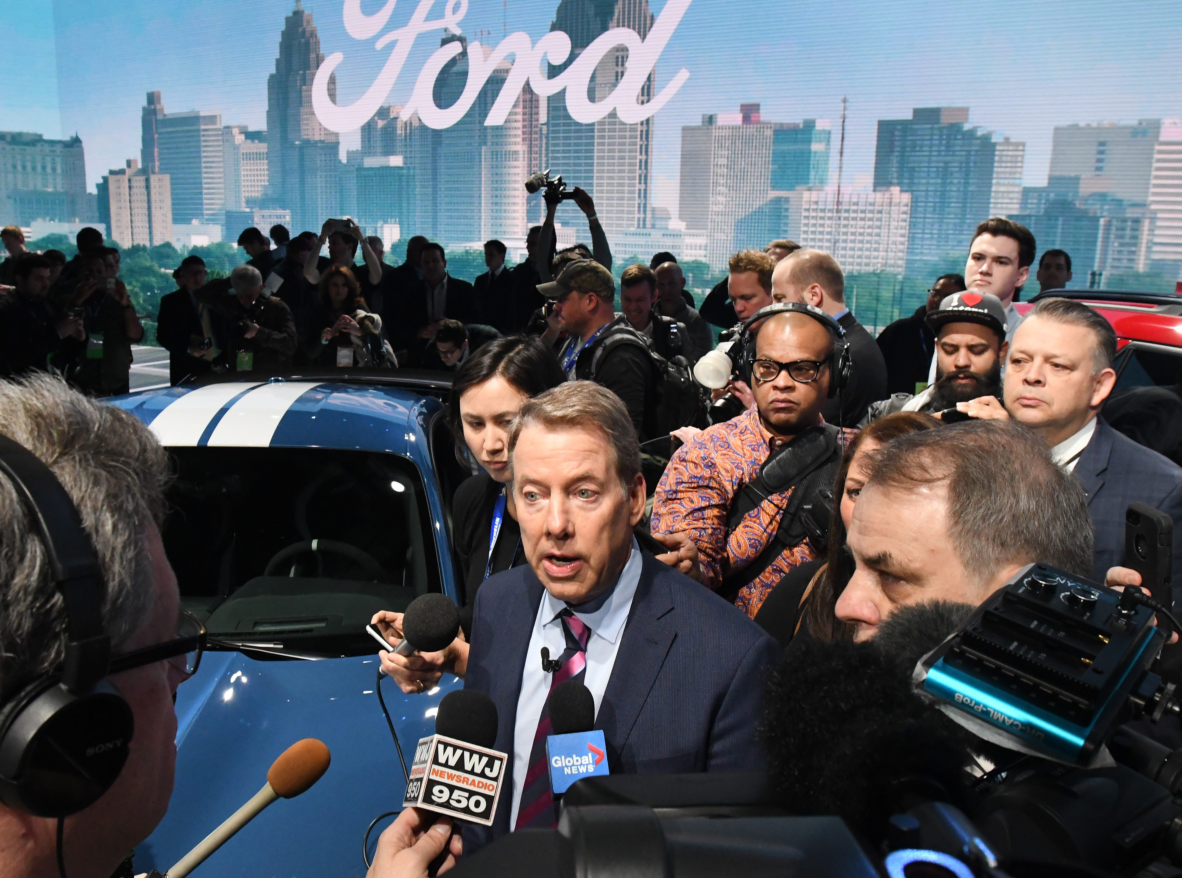 Ford Motor Company chairman Bill Ford speaks to the media after the reveal of the Shelby Mustang GT500 at the Detroit Auto Show Monday.