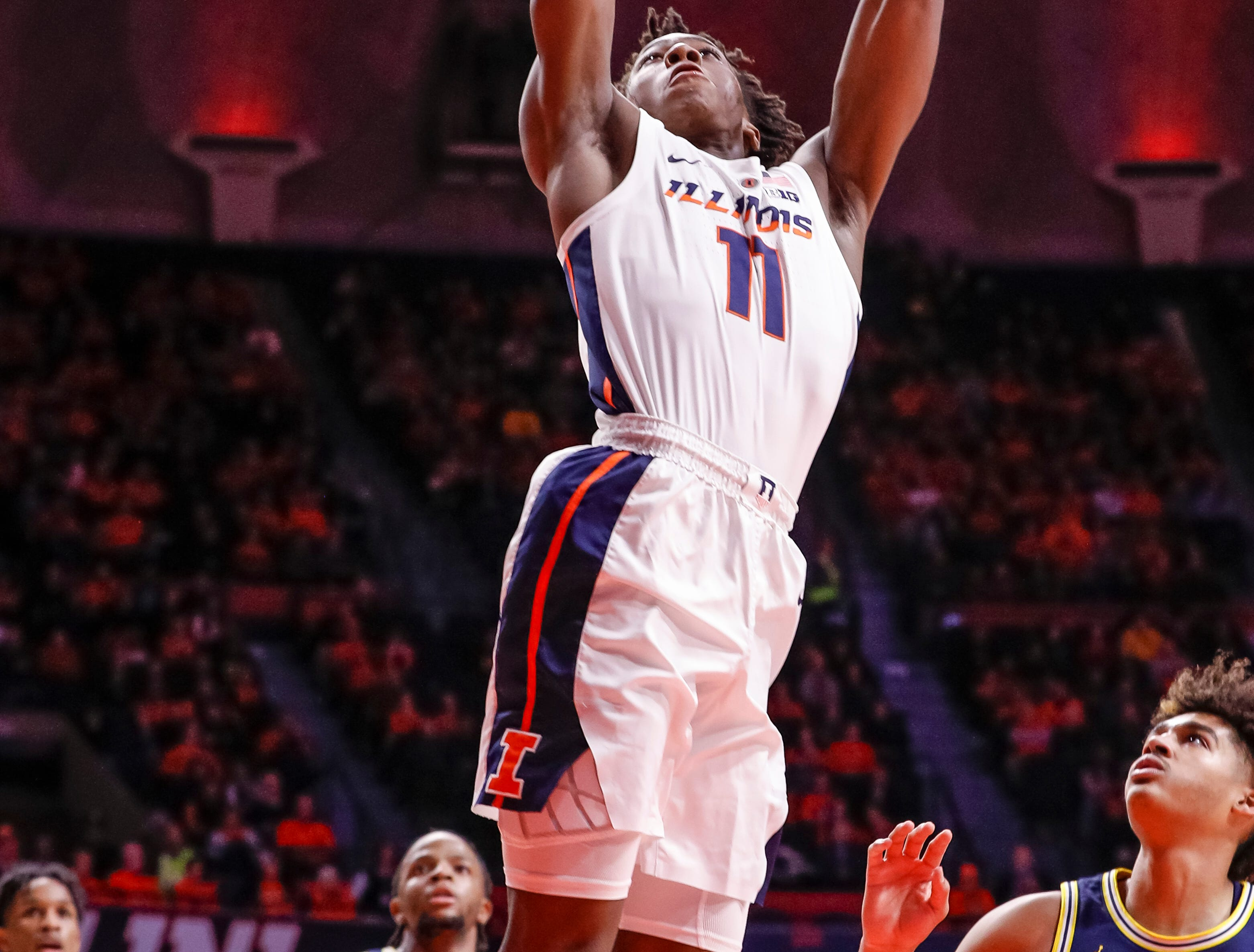 CHAMPAIGN, IL - JANUARY 10: Ayo Dosunmu #11 of the Illinois Fighting Illini goes up for a shot against the Michigan Wolverines during the first half of action at State Farm Center on January 10, 2019 in Champaign, Illinois. (Photo by Michael Hickey/Getty Images)