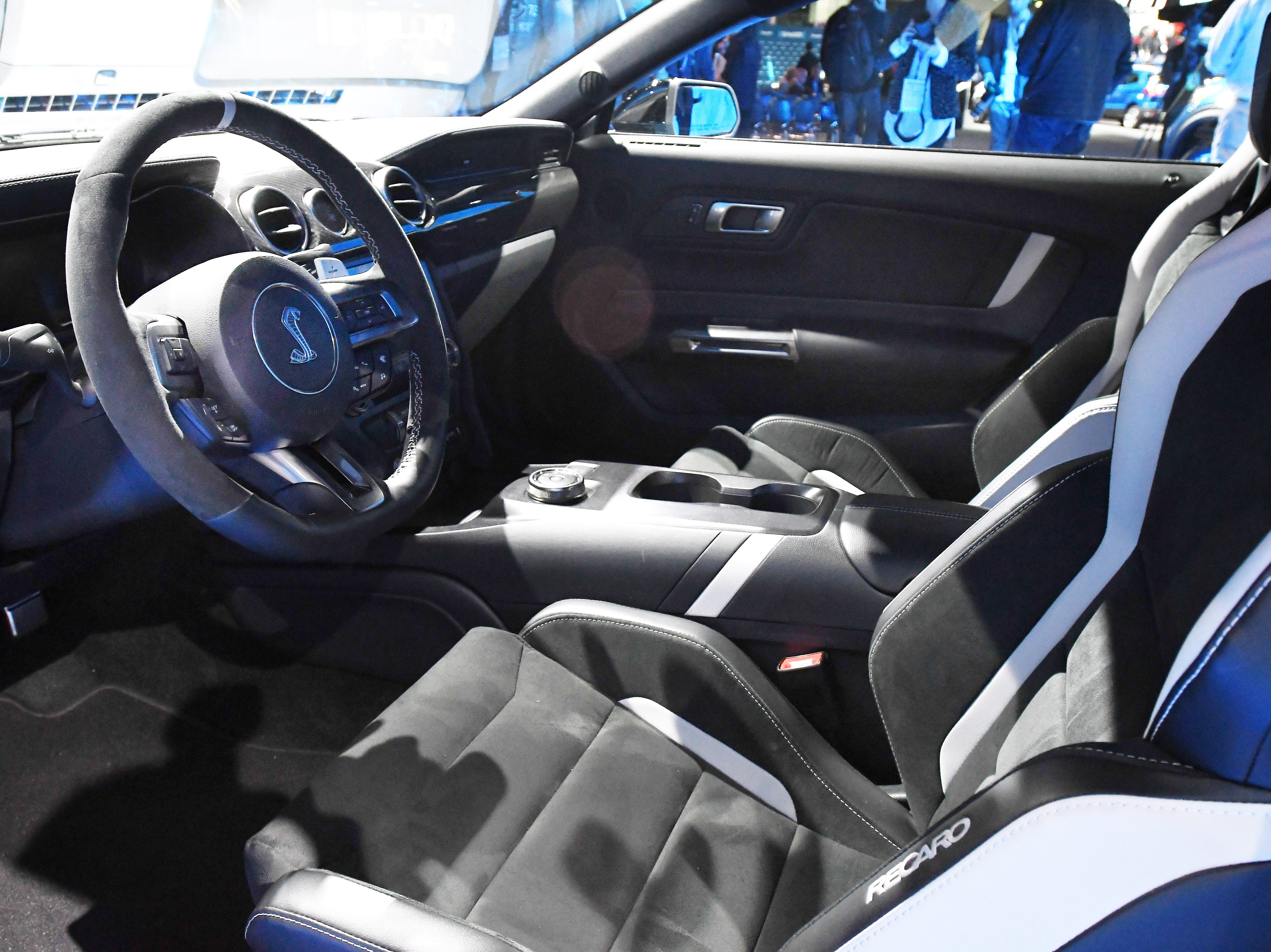 The Mustang Shelby GT500 features a plush leather interior.