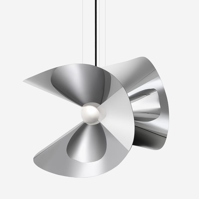 As part of his Globe Trotter collection for Roche Bobois, Marcel Wanders designed the sculptural Mariposa suspension lamp in stainless steel with a super mirrored finish. It has a diffuser in blown borosilicate glass with a sanded finish.
