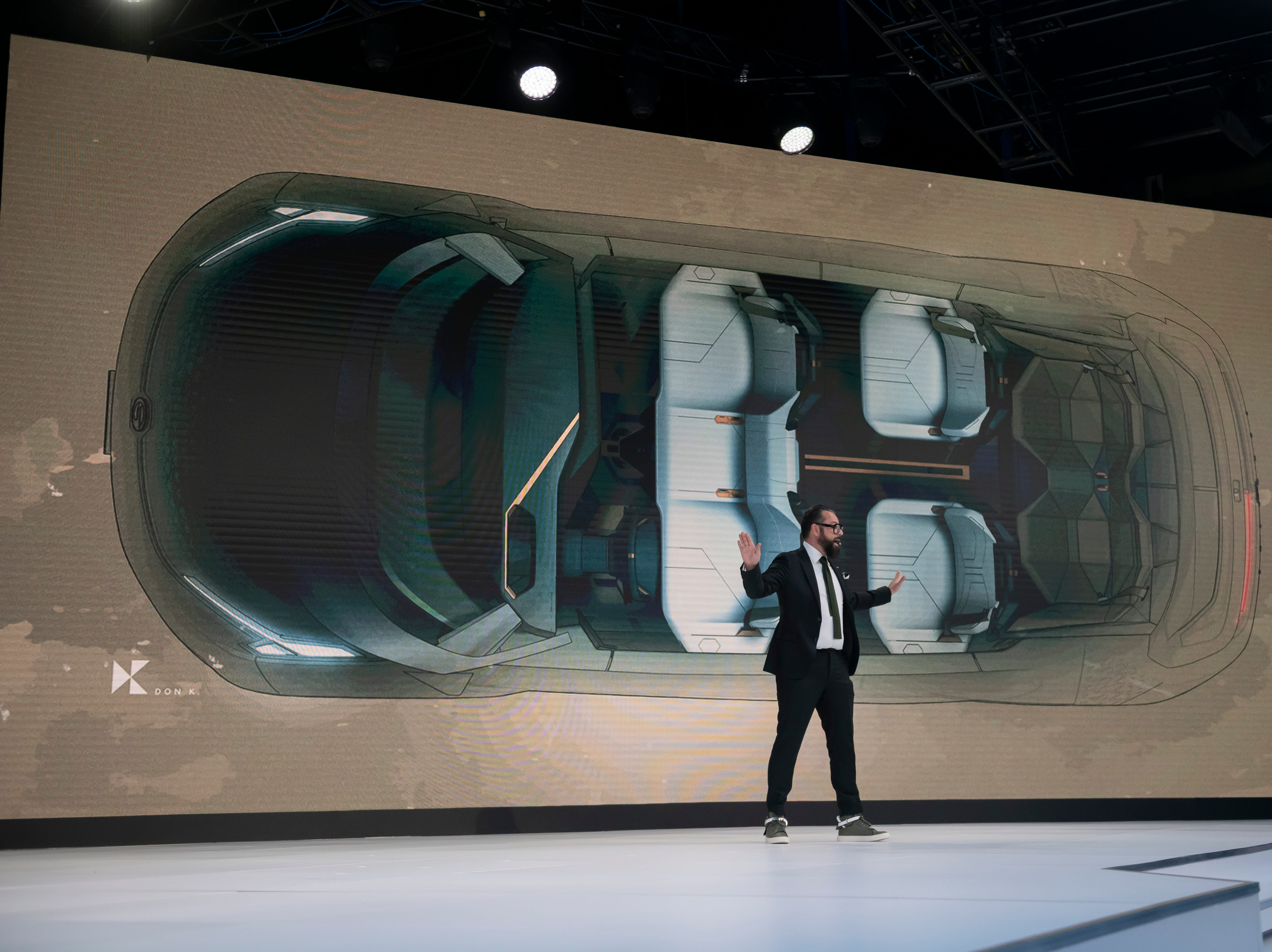 Pontus Fontaeus, executive design director of the GAC advanced design department in Los Angeles, talks about the GAC Entranze EV concept vehicle.