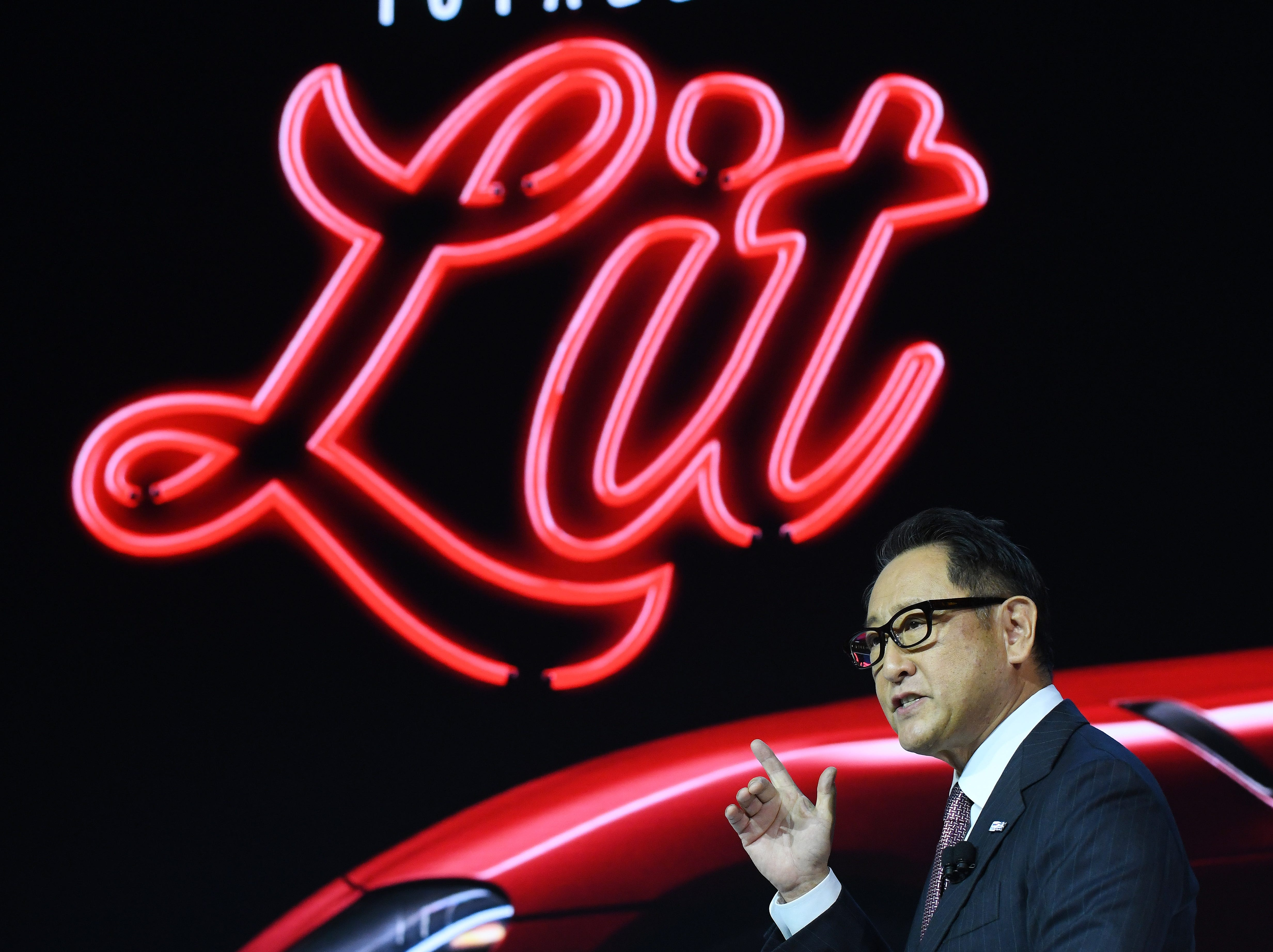 Toyota's President Akio Toyoda introduces the 2020 Toyota Supra in Detroit.