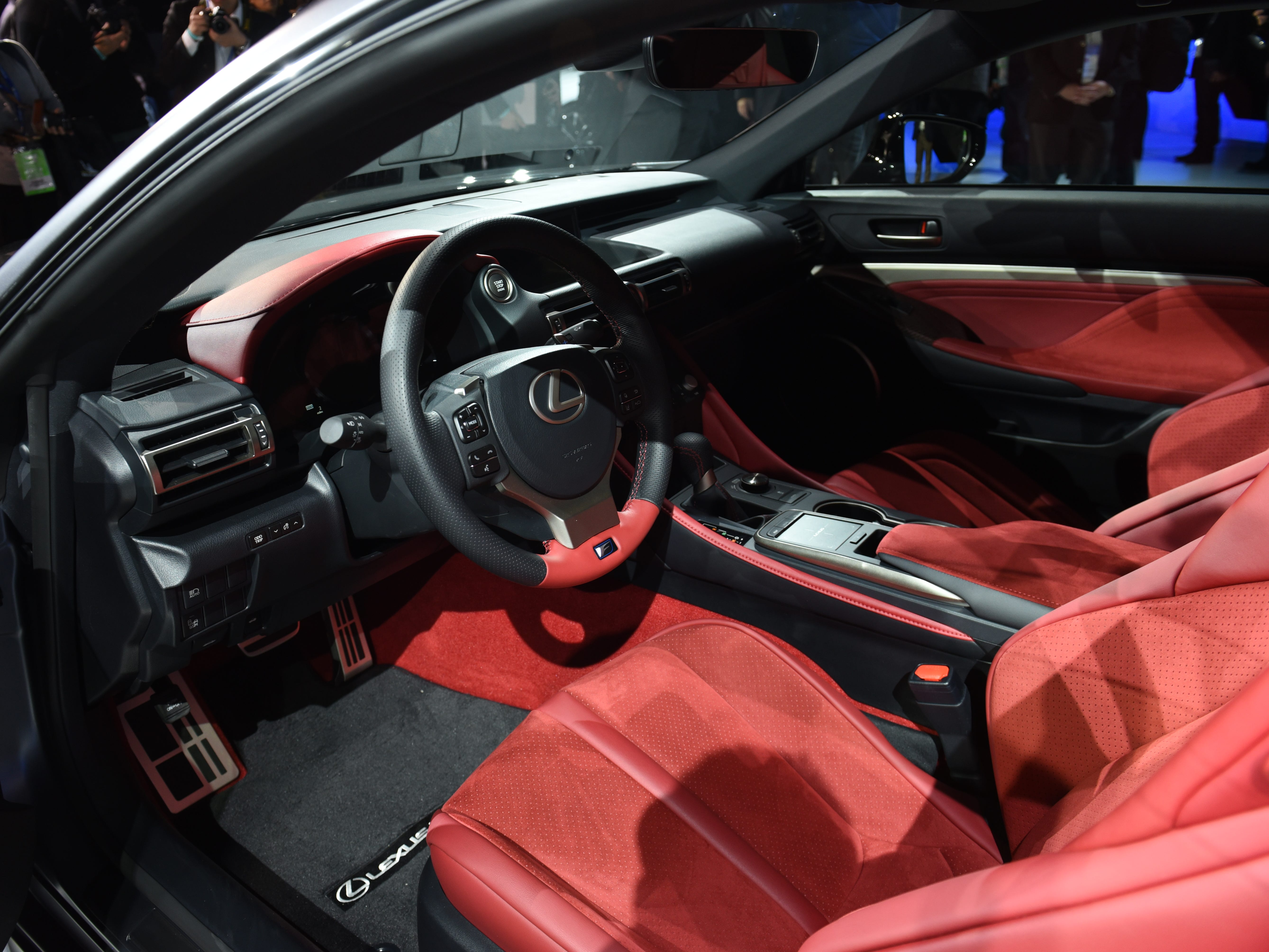 The Lexus RC F Track Edition is trimmed in red leather.